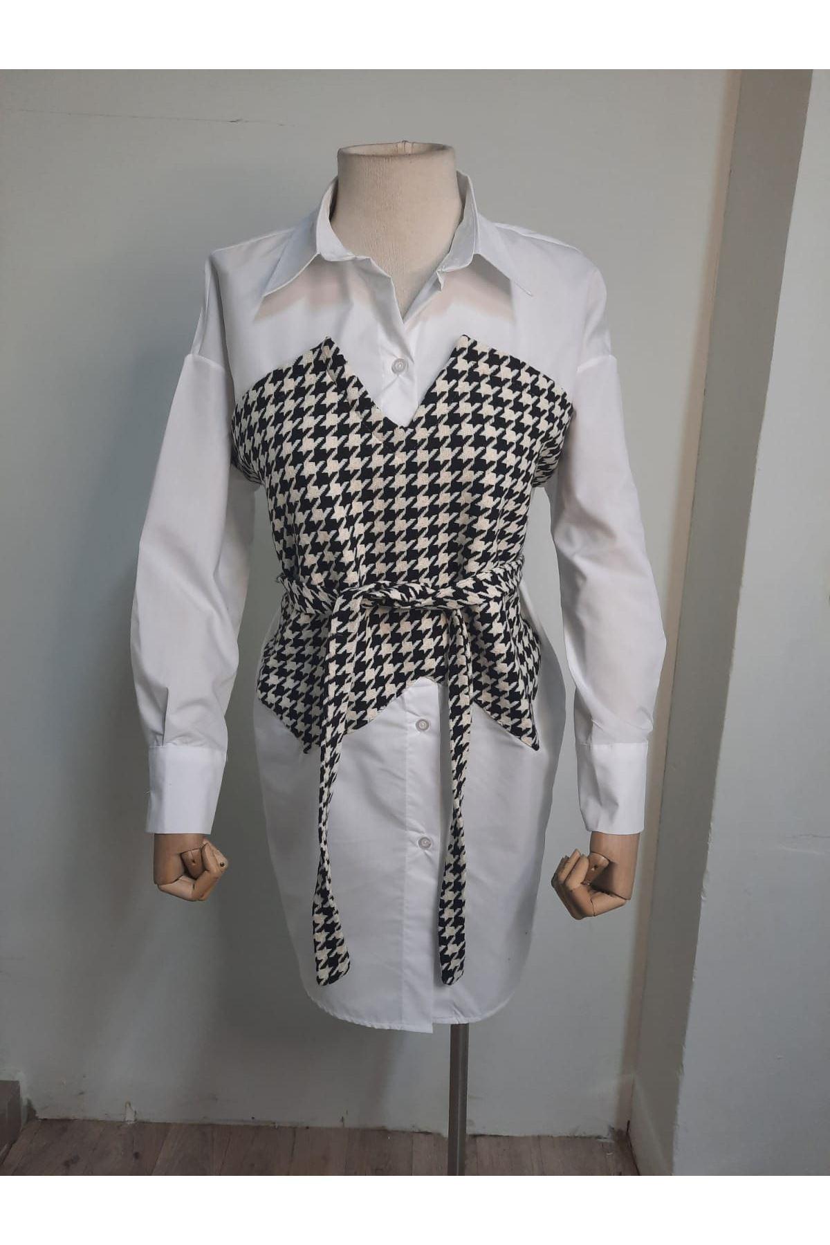 Kazayağı Detaylı Gömlek Elbise - Kazayağı