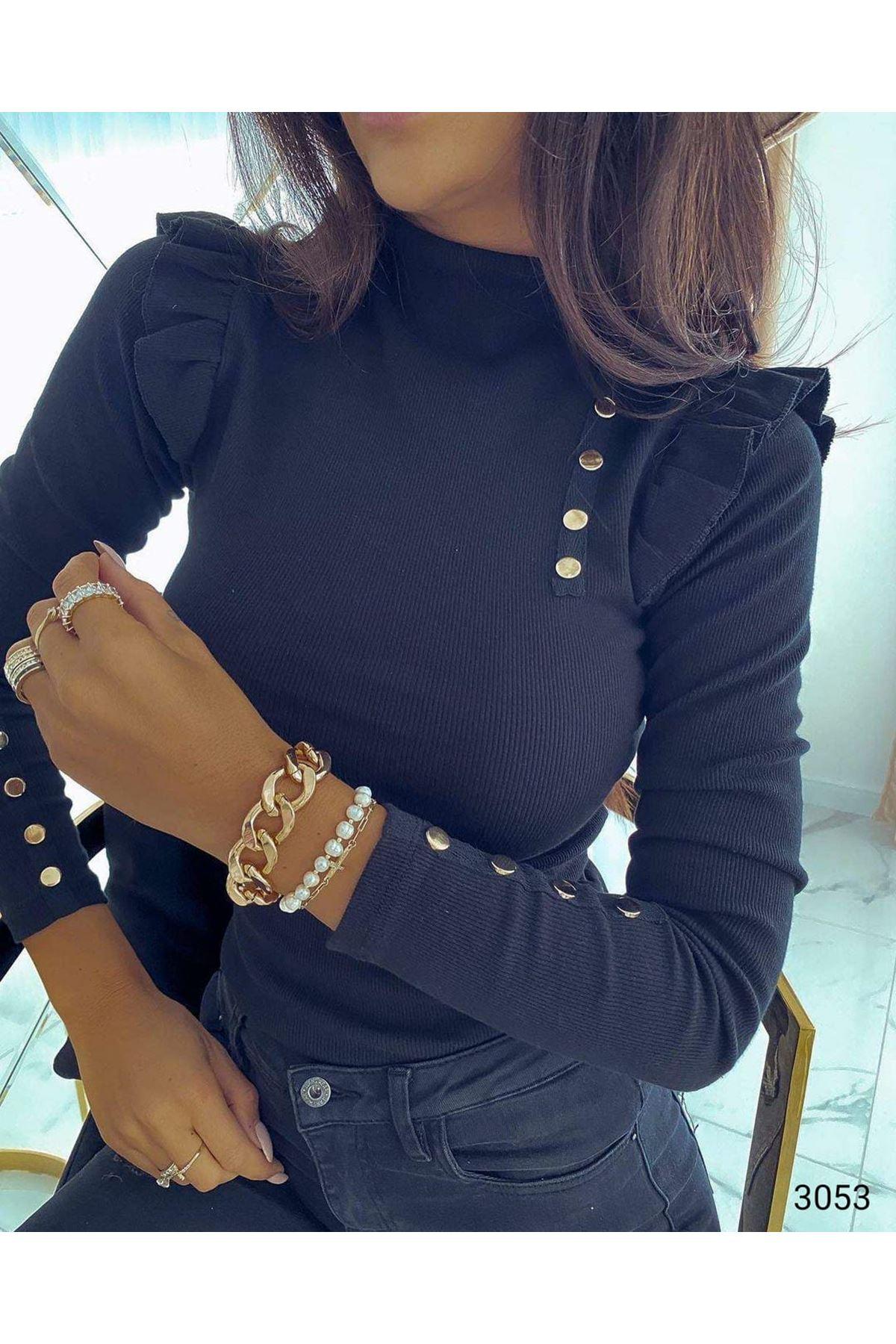 Düğmeli Prenses Omuz Bluz - Siyah