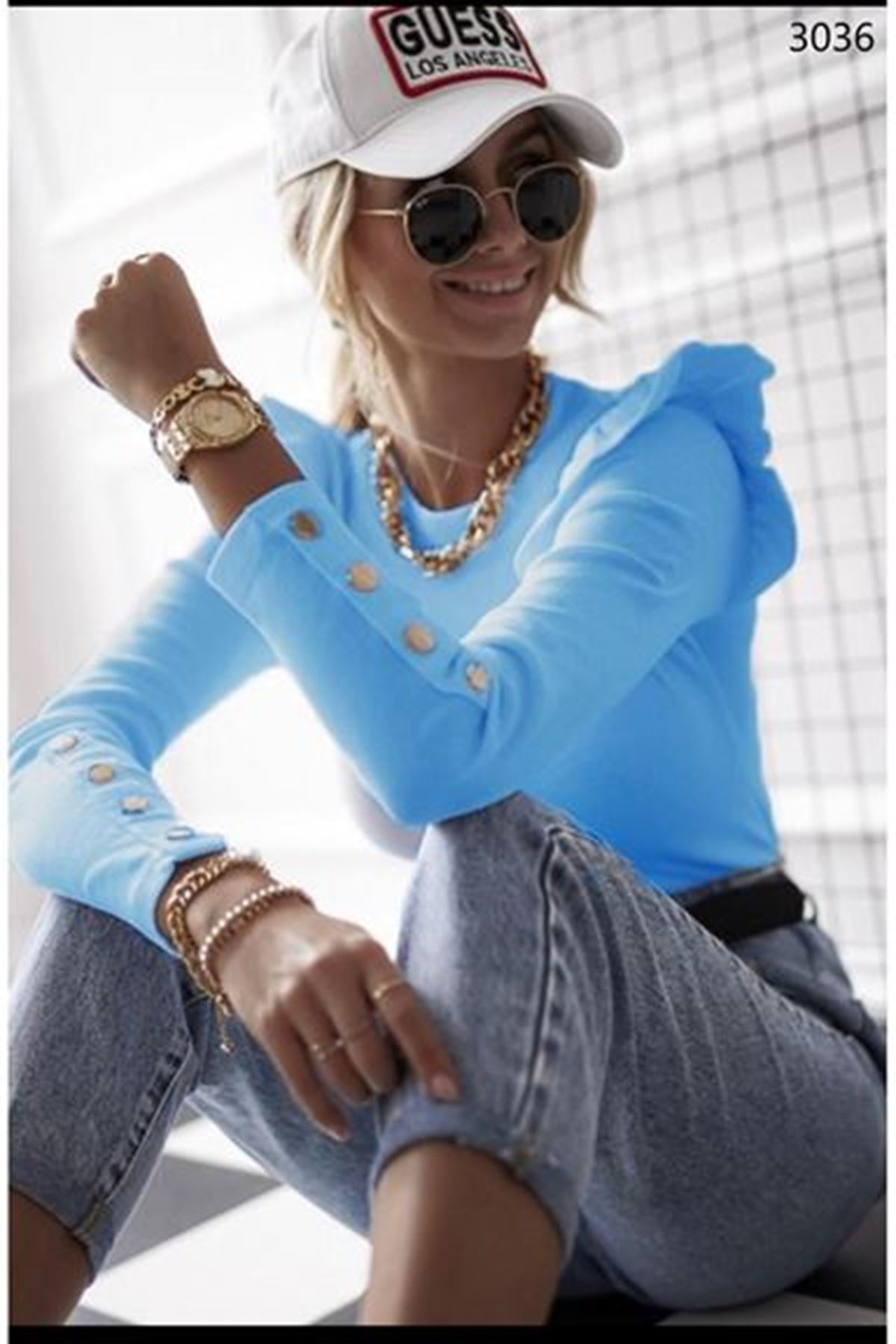 Kol Düğmeli Prenses Bluz - Mavi