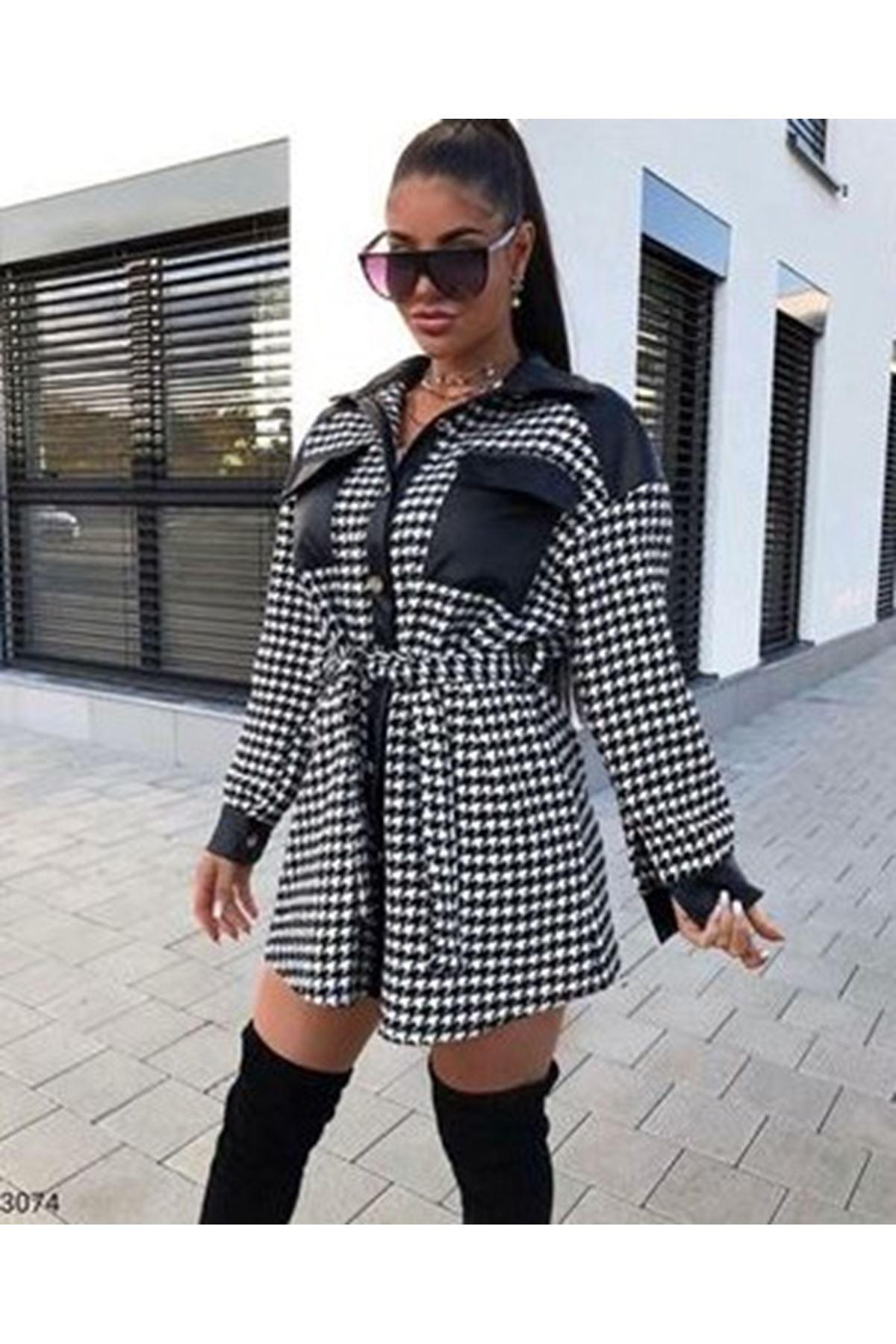 Kazayağı Desen Cepli Elbise - Kazayağı