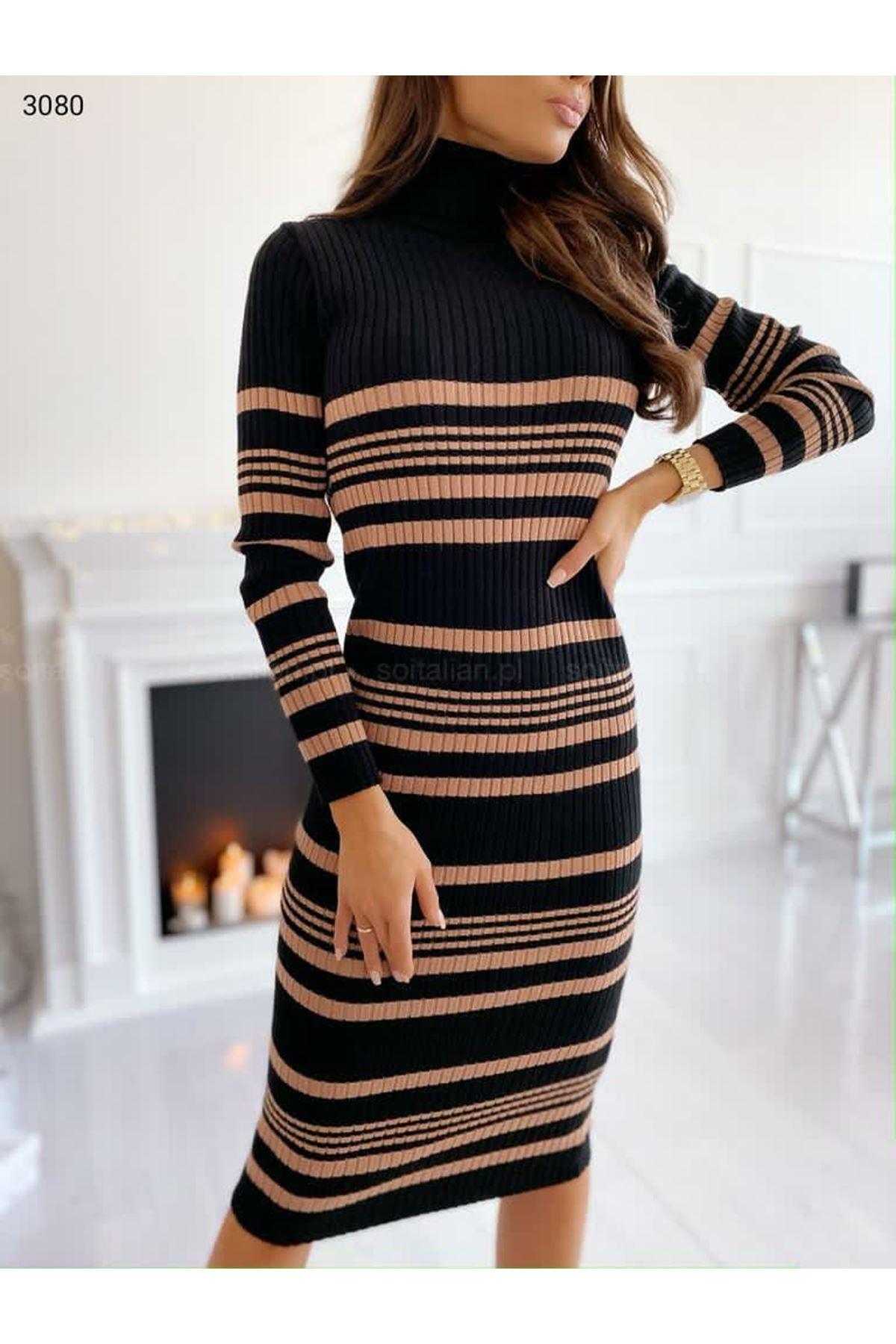 Çizgi Desen Triko Elbise - Vizon