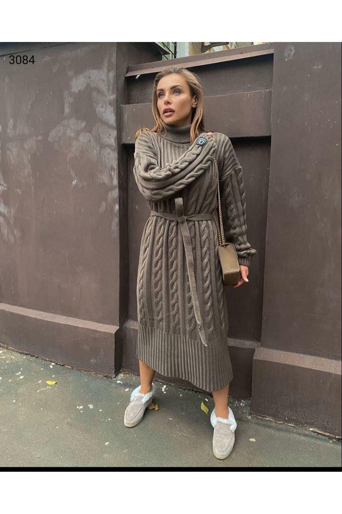 Boğazlı Triko Elbise - GRİ