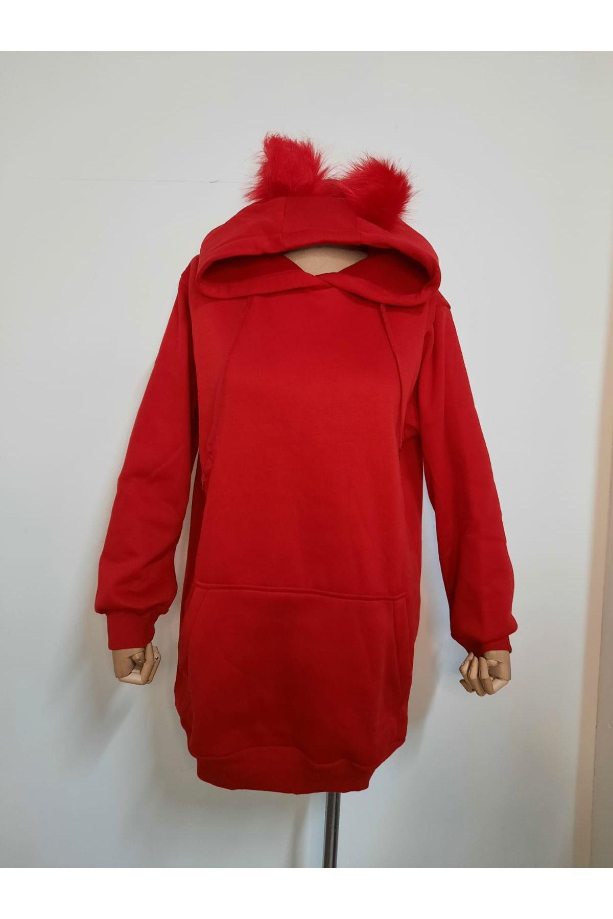 Ponpon Kapüşonlu Sweatshirt - Kırmızı