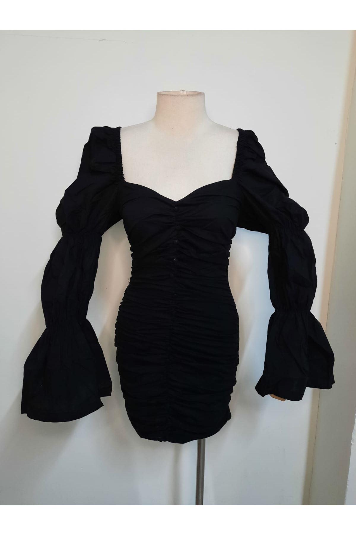 Büzgülü Mini Tasarım Elbise - Siyah