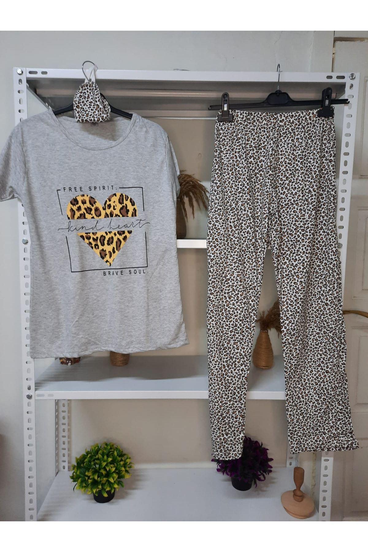 Leoparlı Pijama Takımı - Leopar