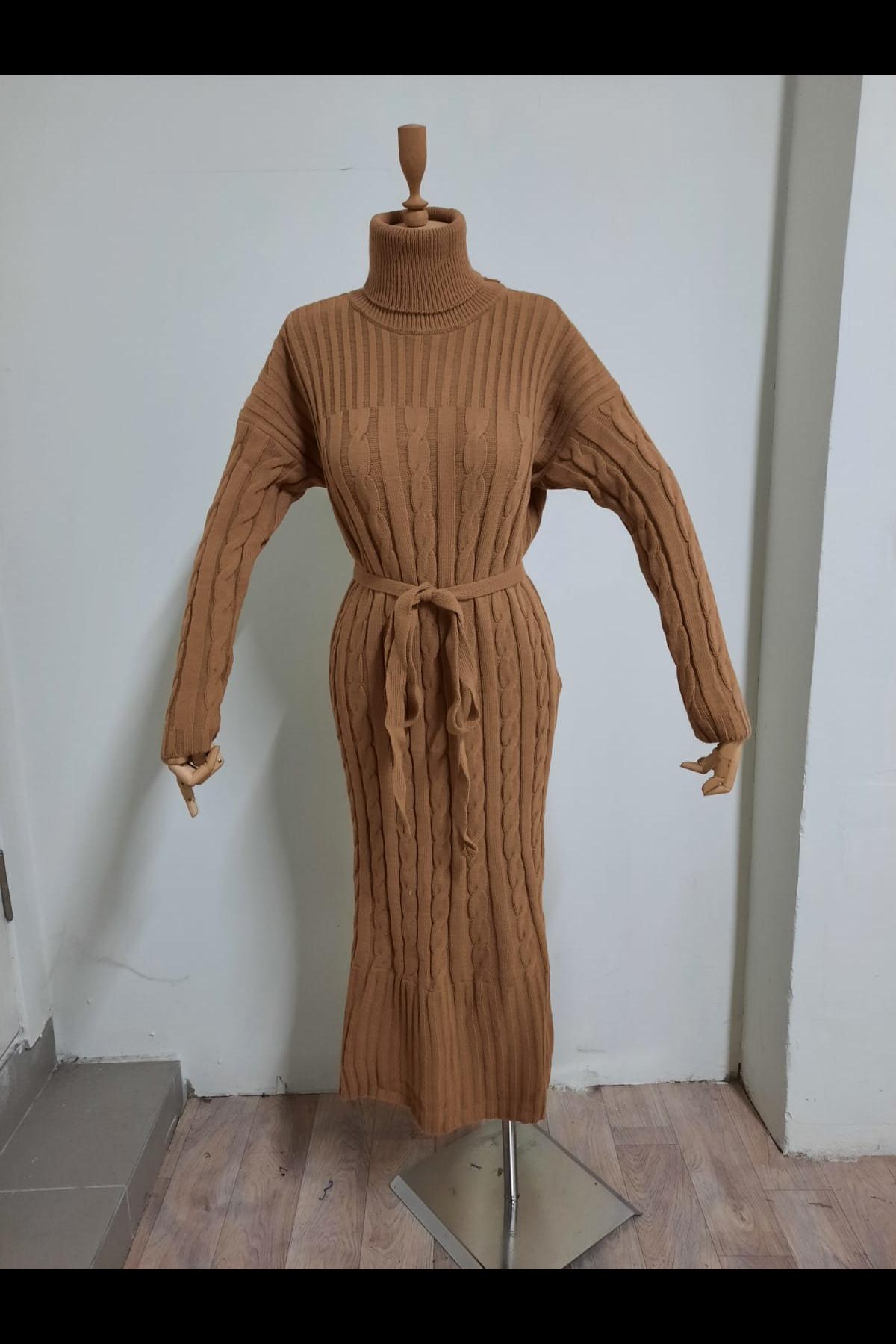 Boğazlı Triko Elbise - Vizon
