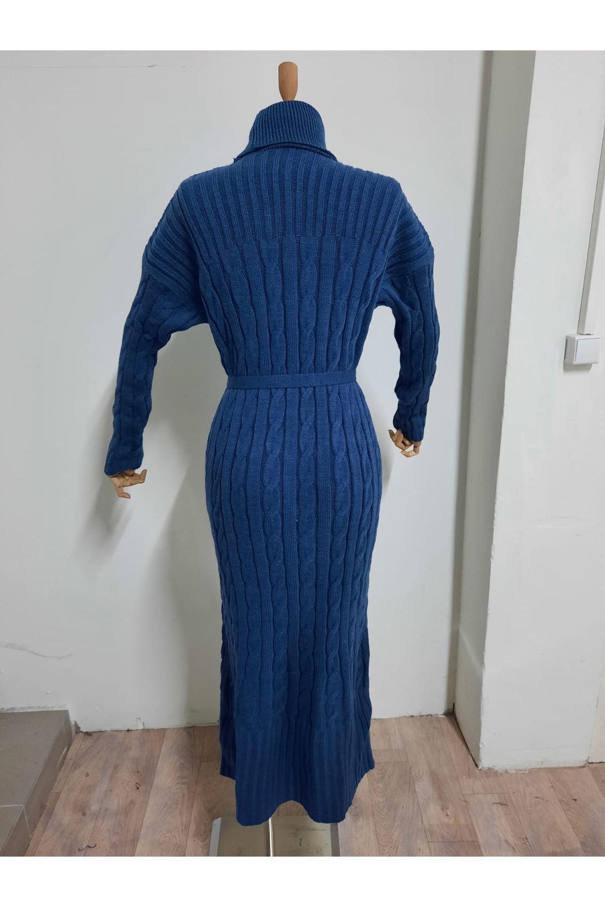 Boğazlı Triko Elbise - Mavi