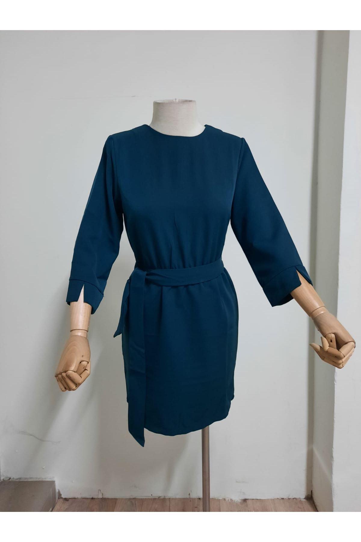Kuşaklı Yarım Kol Elbise - HAKİ