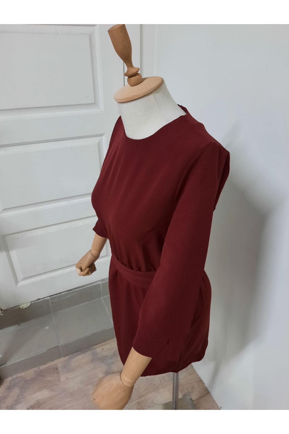 Kuşaklı Yarım Kol Elbise - BORDO