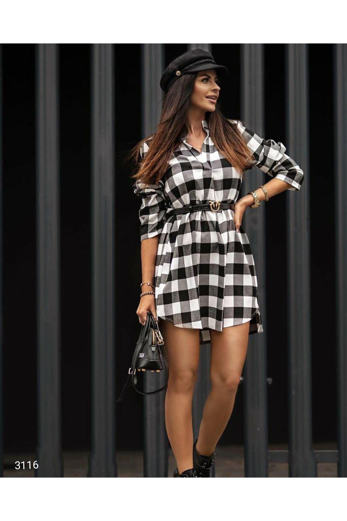 Oduncu Ekoseli Mini Elbise - BEYAZ