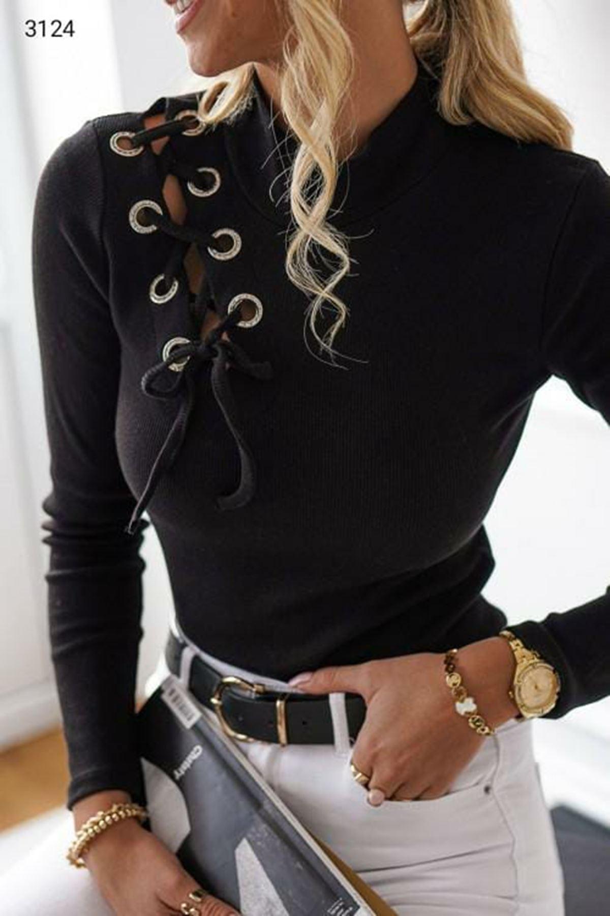 Omuz Dekolteli Bluz - Siyah