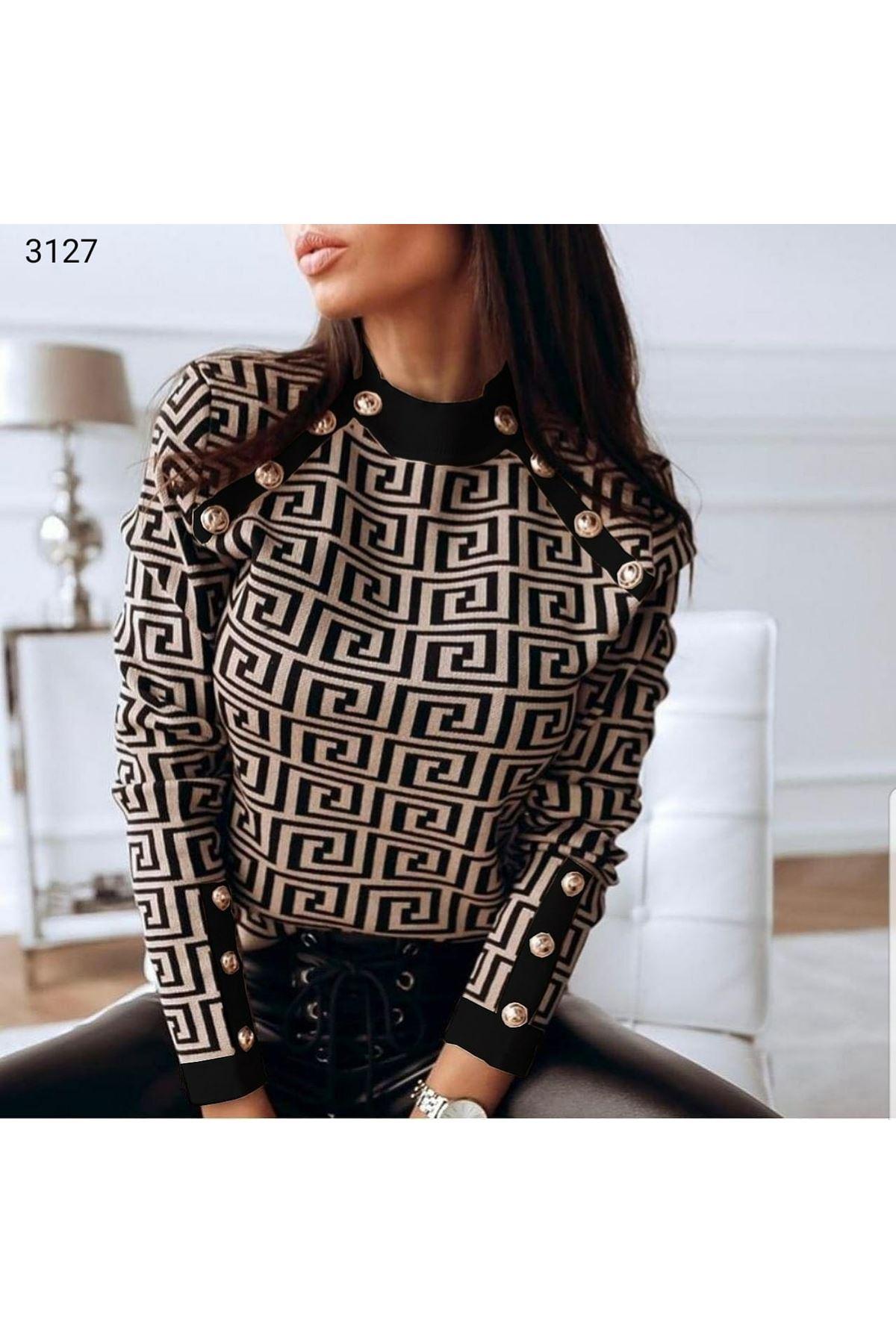 VS Desen Düğme Detaylı Bluz - Siyah