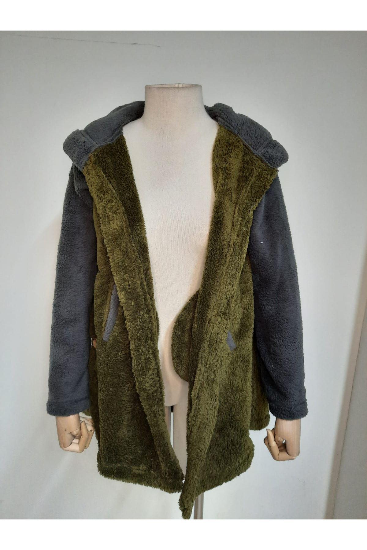 Düğme Detaylı Kapüşonlu Ceket - HAKİ