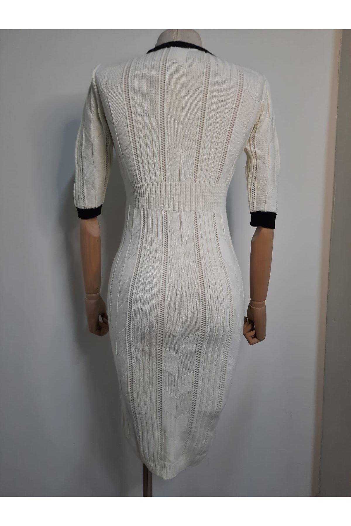 Uzun Triko Elbise - EKRU