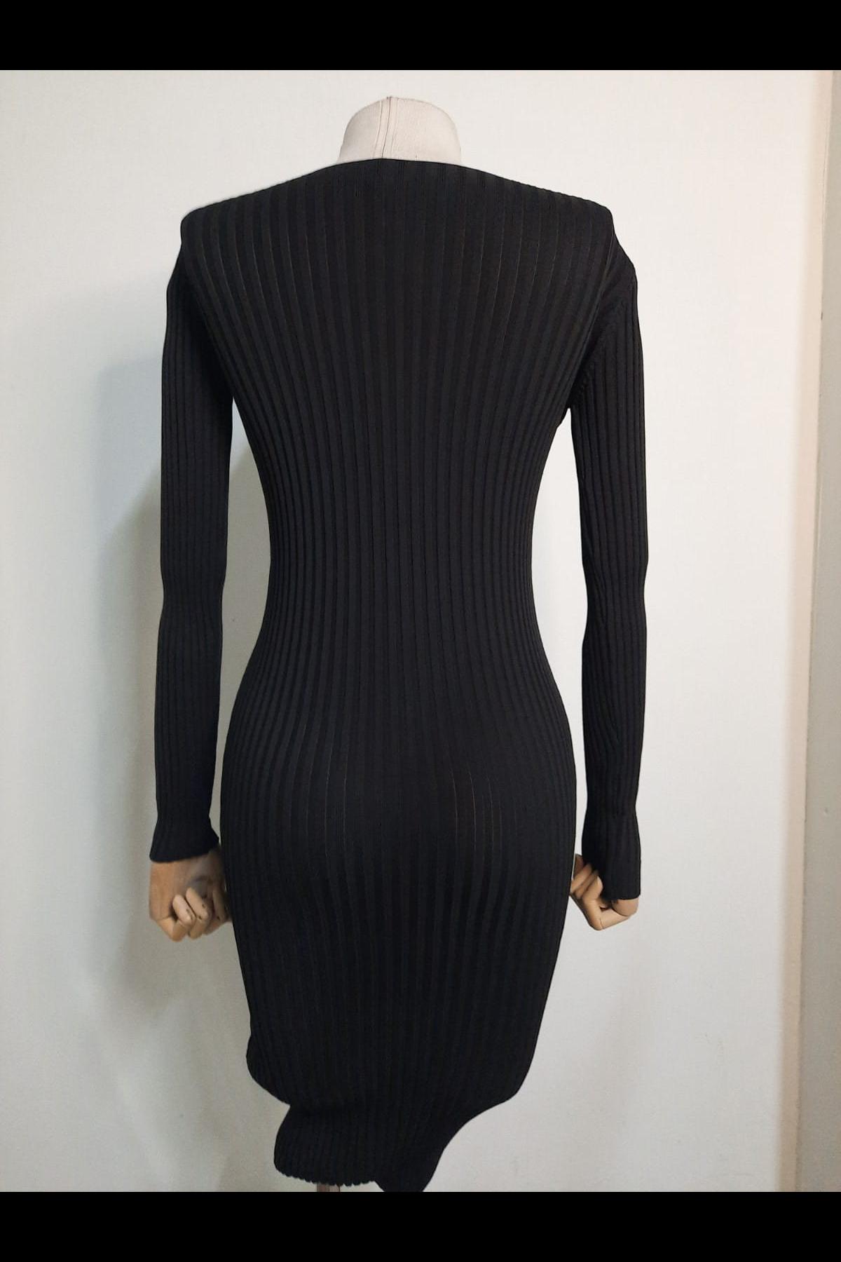 Düğme Detaylı Elbise - SİYAH