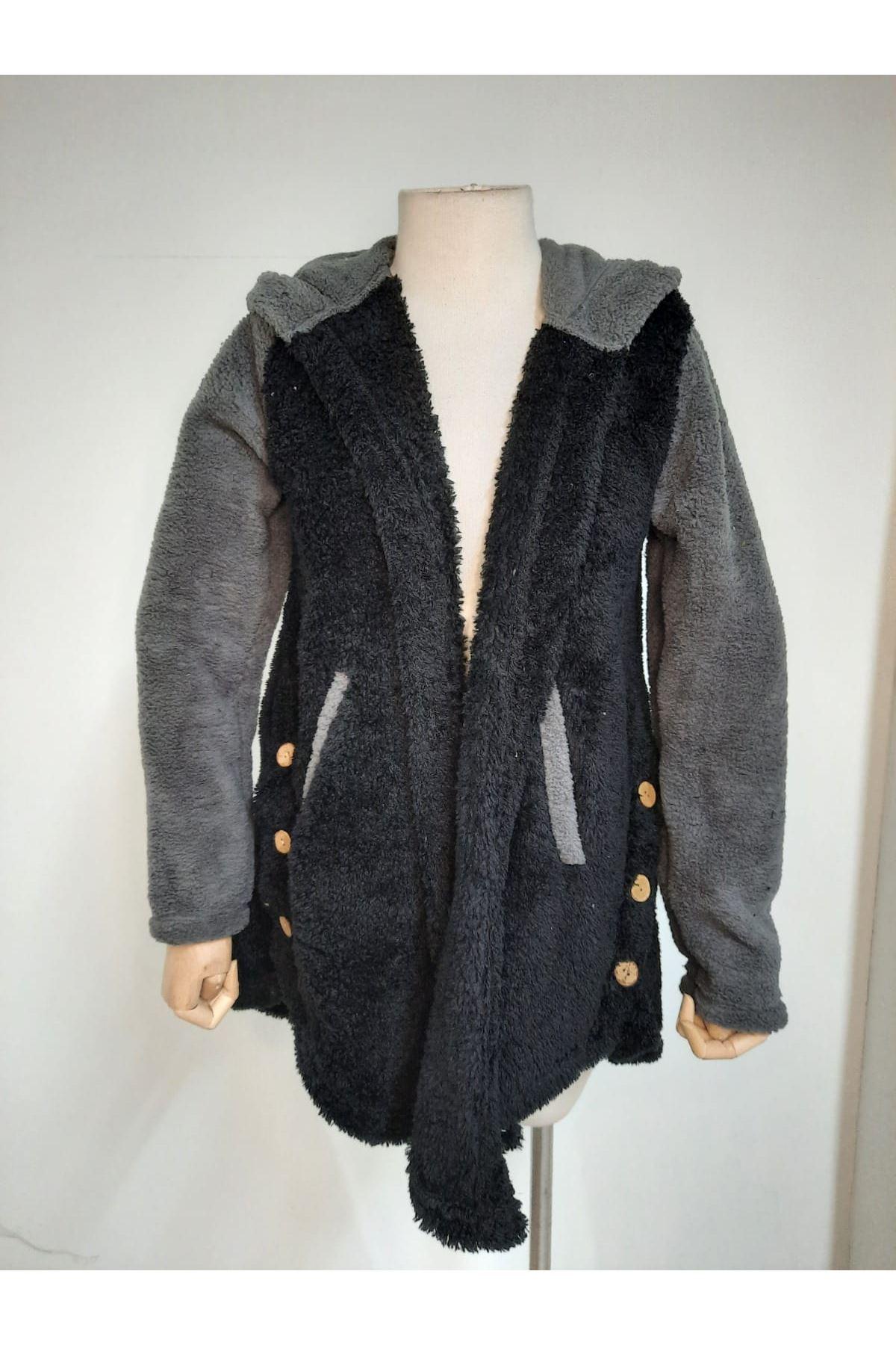 Düğme Detaylı Kapüşonlu Ceket - SİYAH