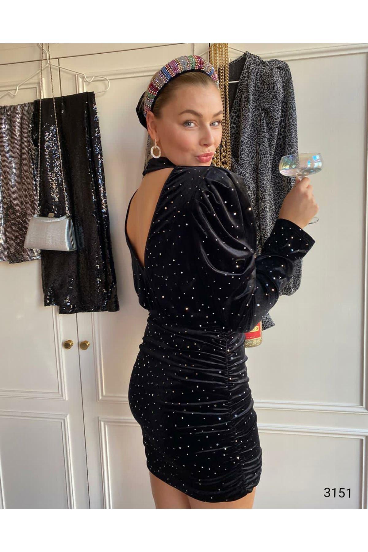 Sırt Açık Kadife Elbise - SİYAH