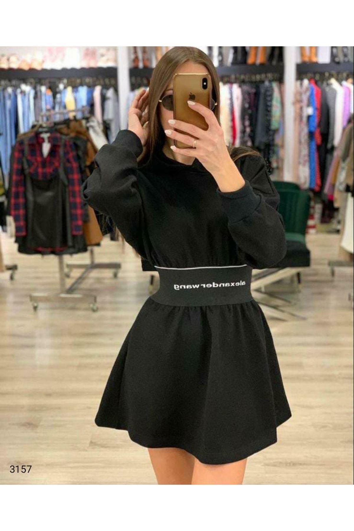 Yeni Sezon Kapüşonlu Lastikli Elbise - SİYAH