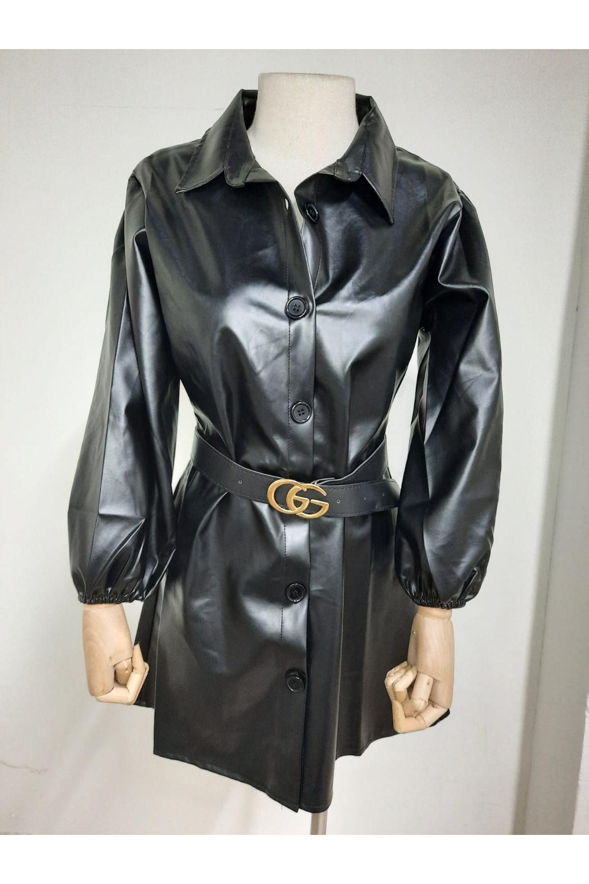 Kemerli Deri Gömlek Elbise - Siyah