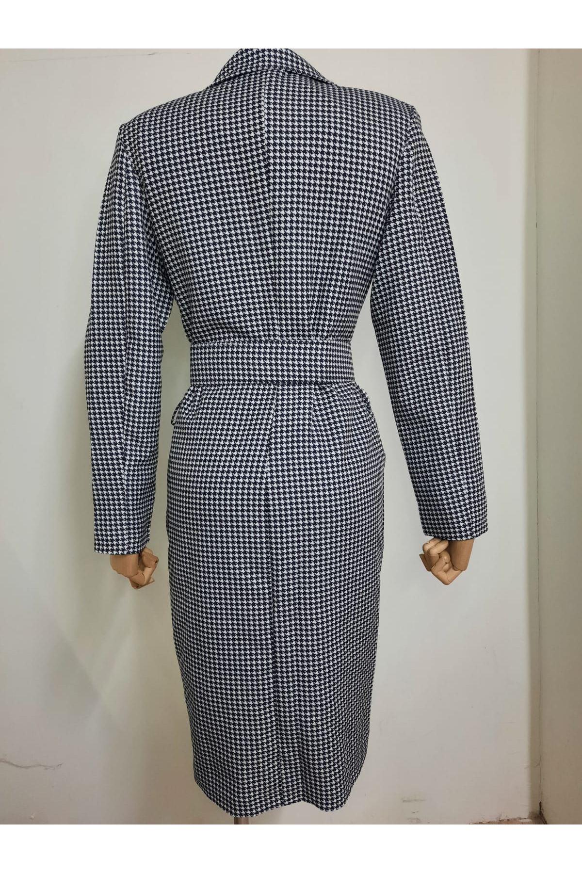 Kazayağı Desenli Ceket Elbise - Multi