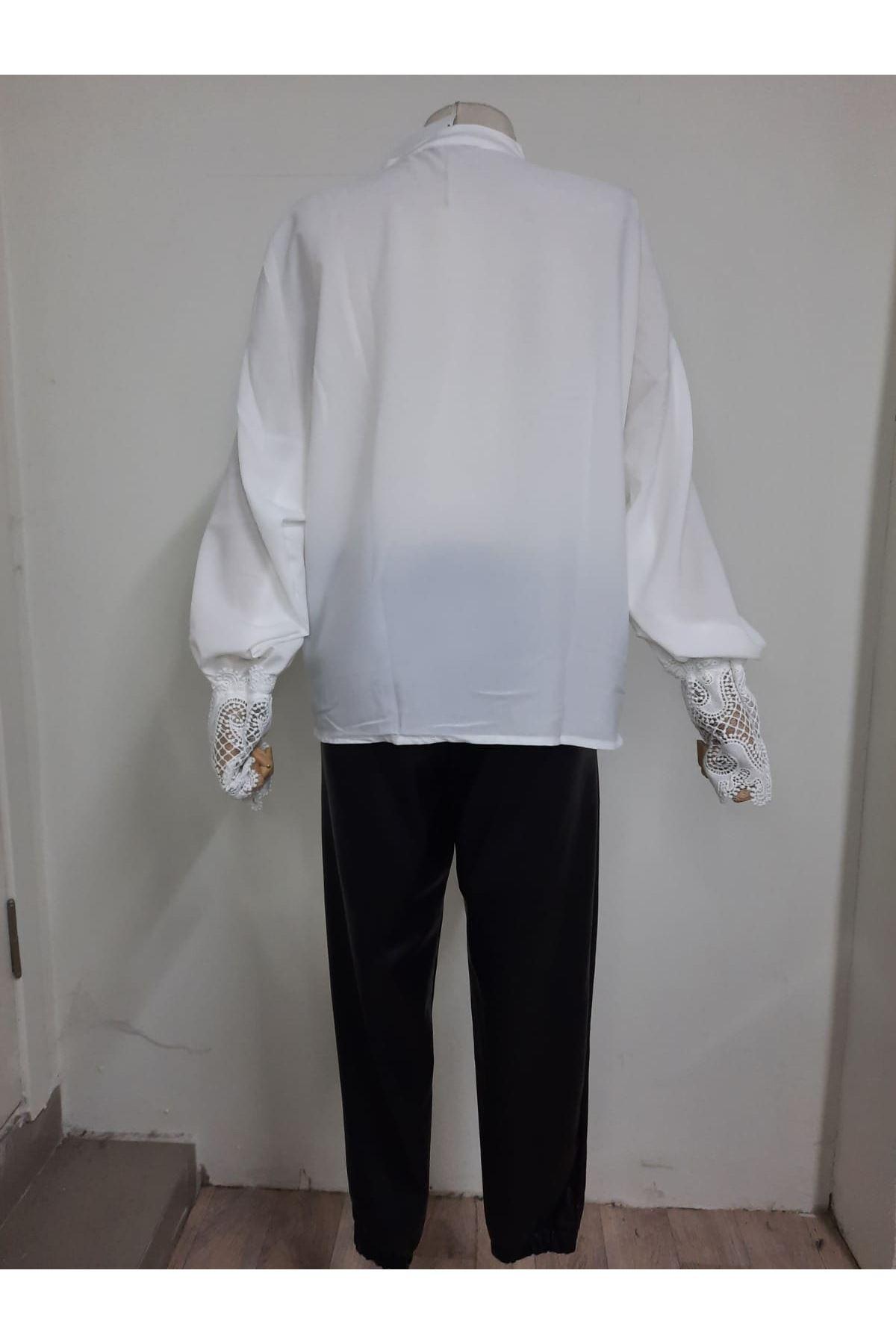 Dantel Detaylı Gömlek - BEYAZ