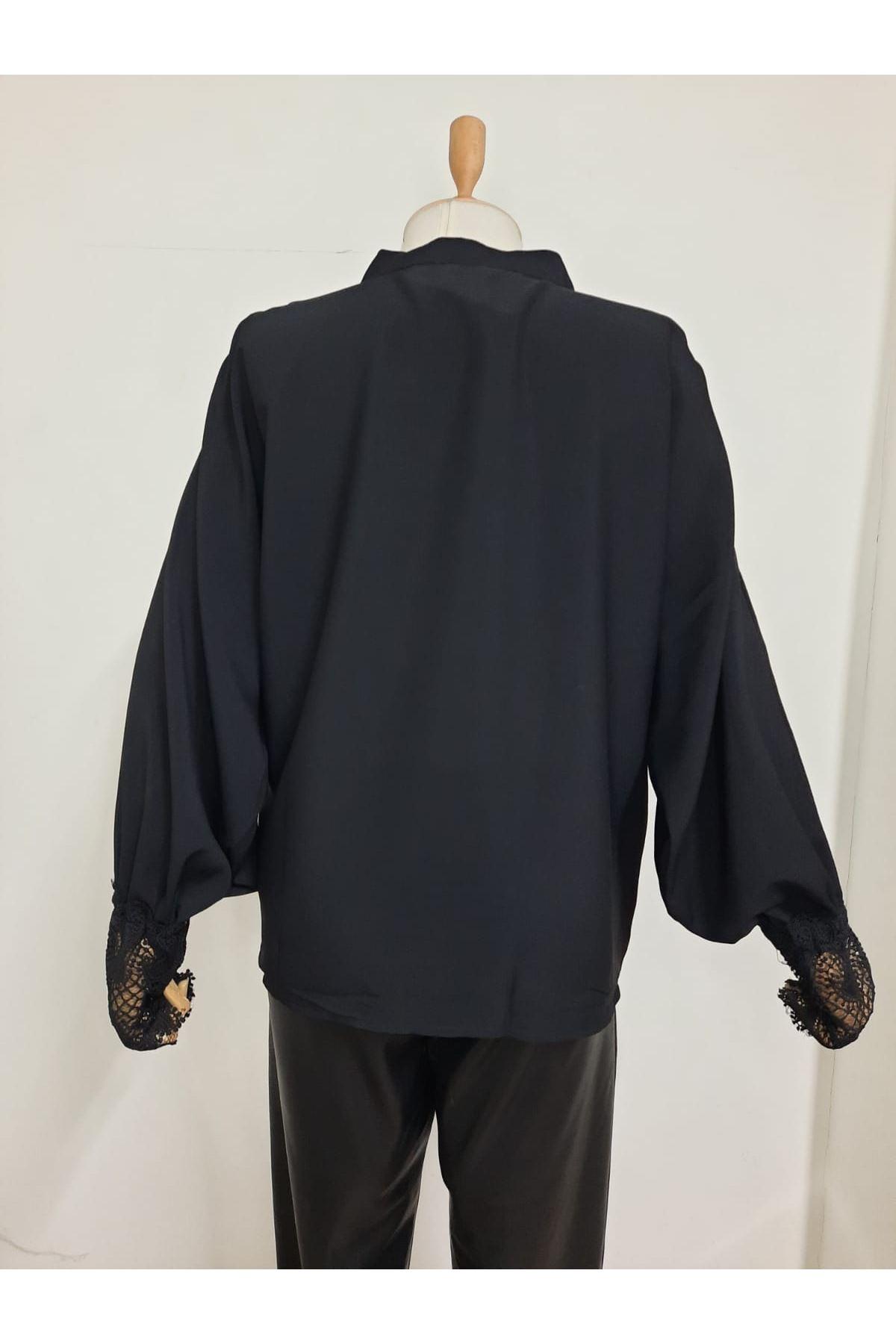 Dantel Detaylı Gömlek - SİYAH