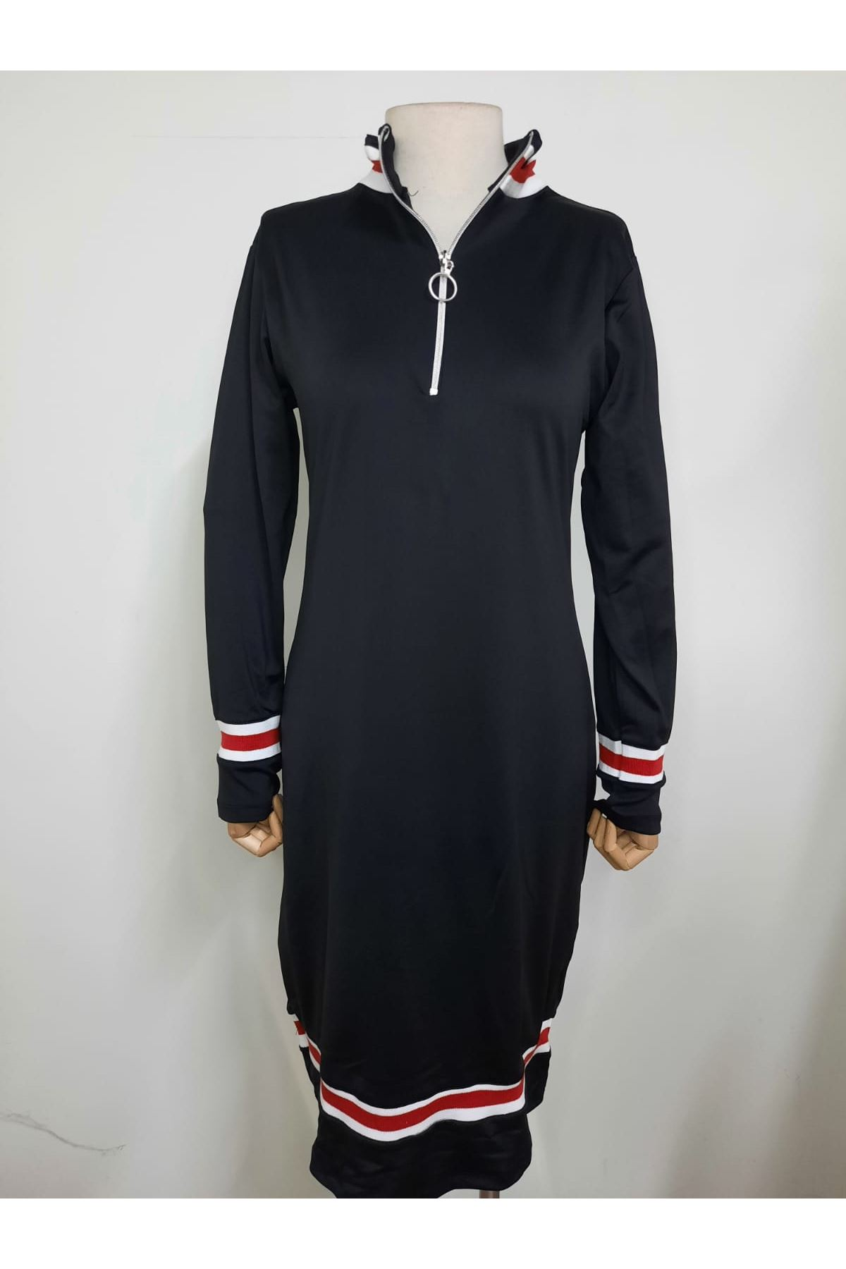 Şerit Detaylı Fermuarlı Elbise - SİYAH