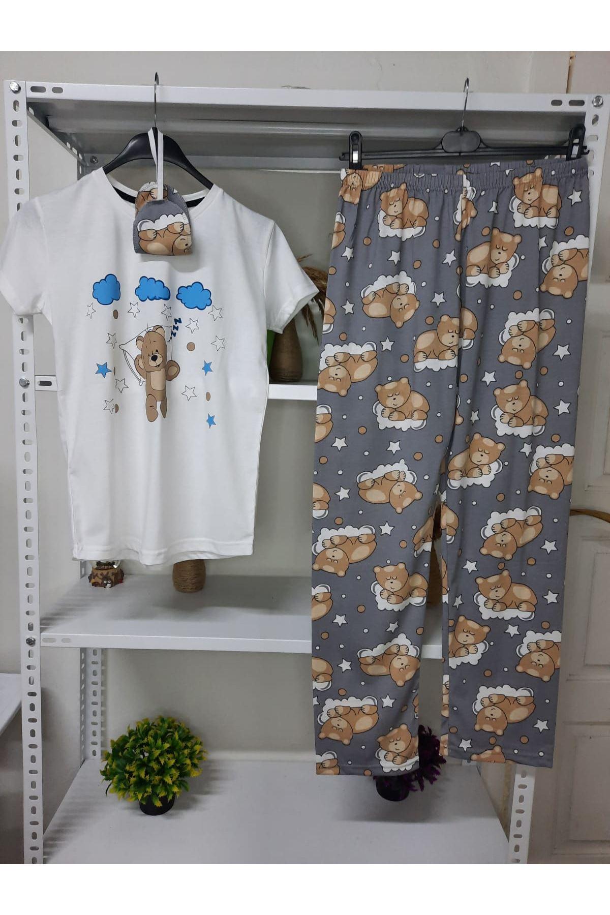 3'lü Pijama Takımı - BEYAZ