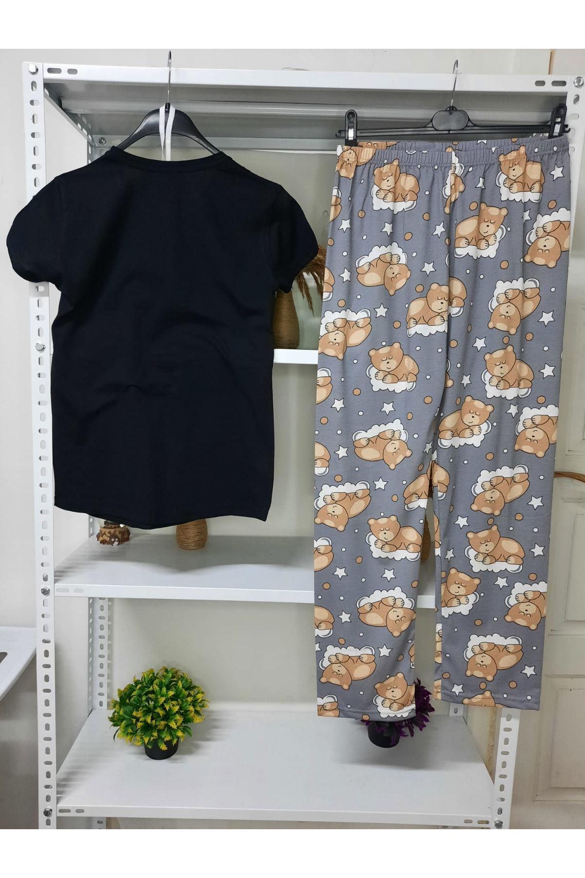 3'lü Pijama Takımı - SİYAH