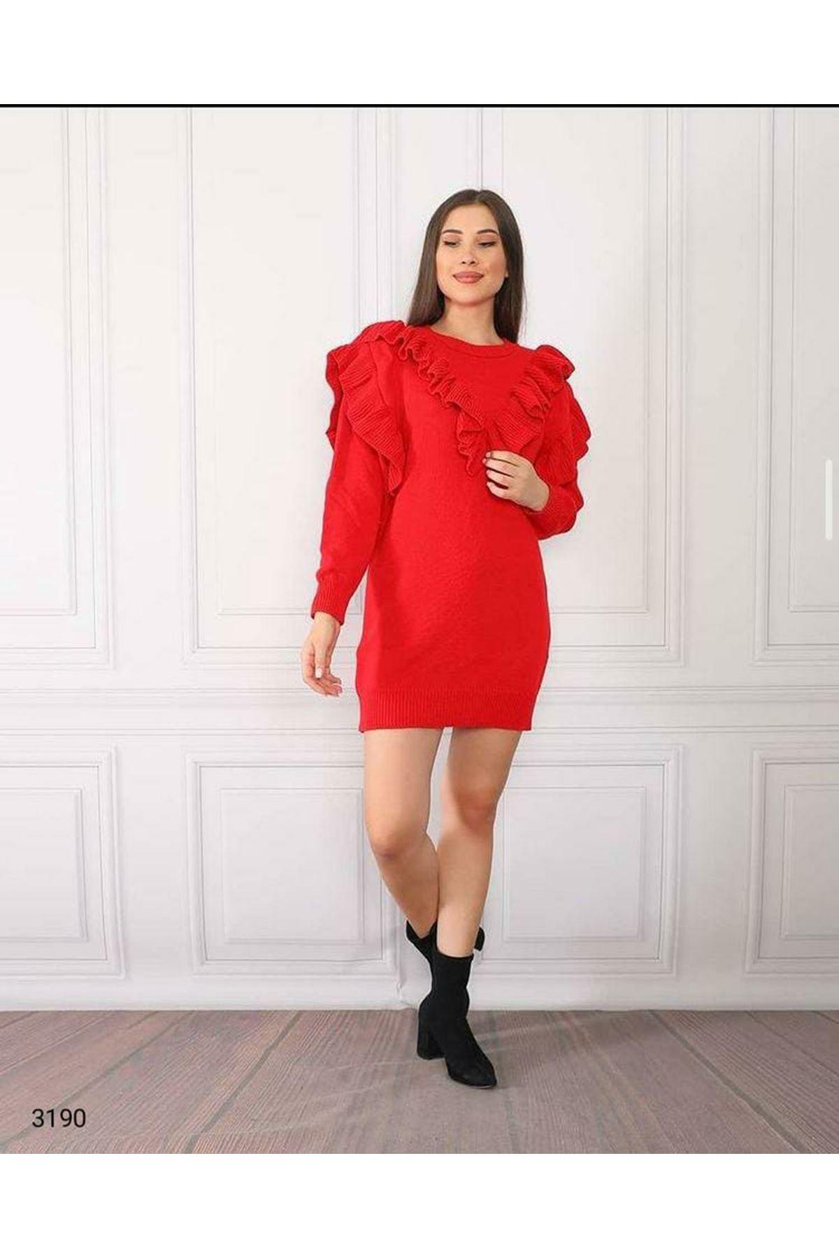 Fırfırlı Triko Elbise - KIRMIZI