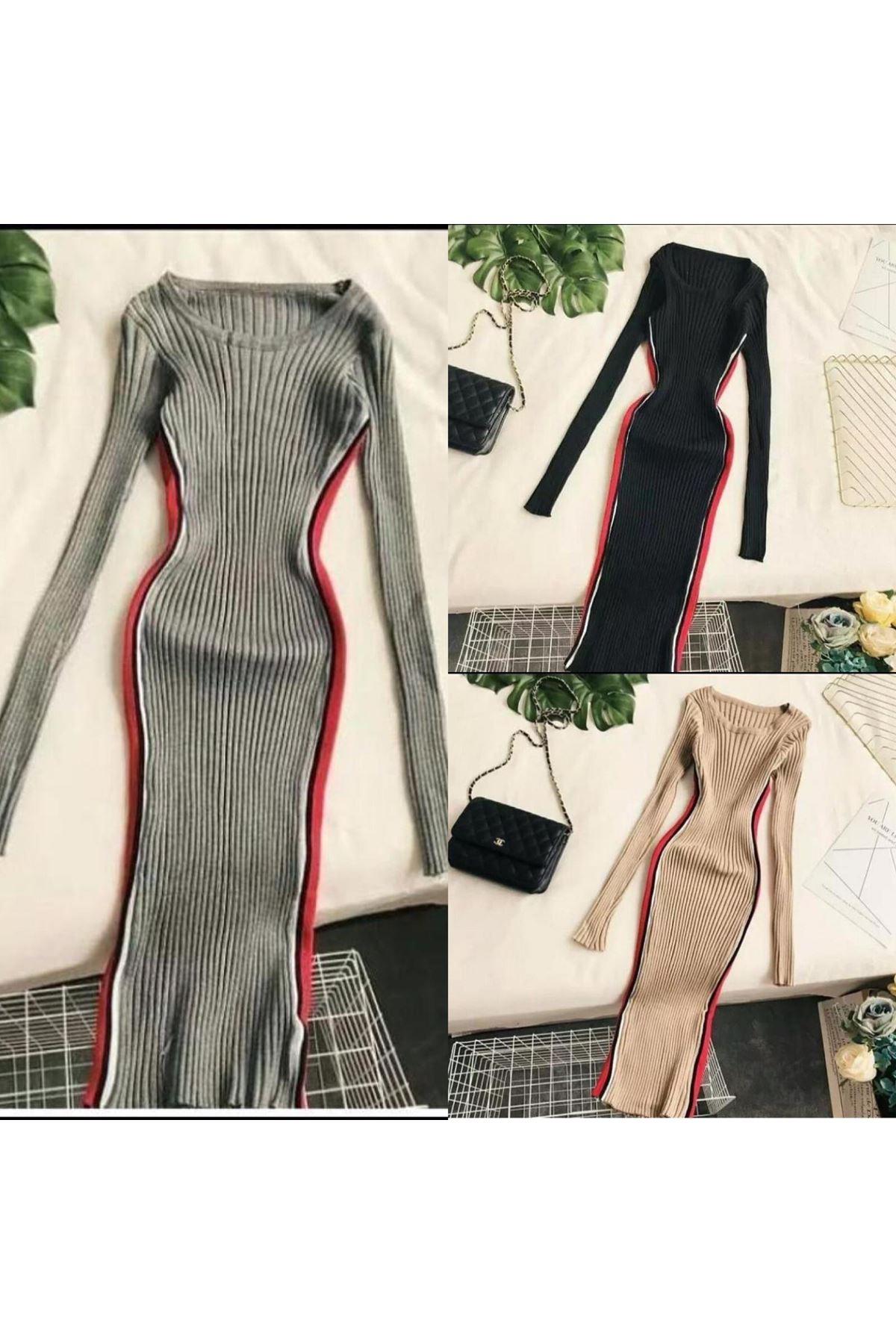 Yanı Şeritli Elbise - BEJ