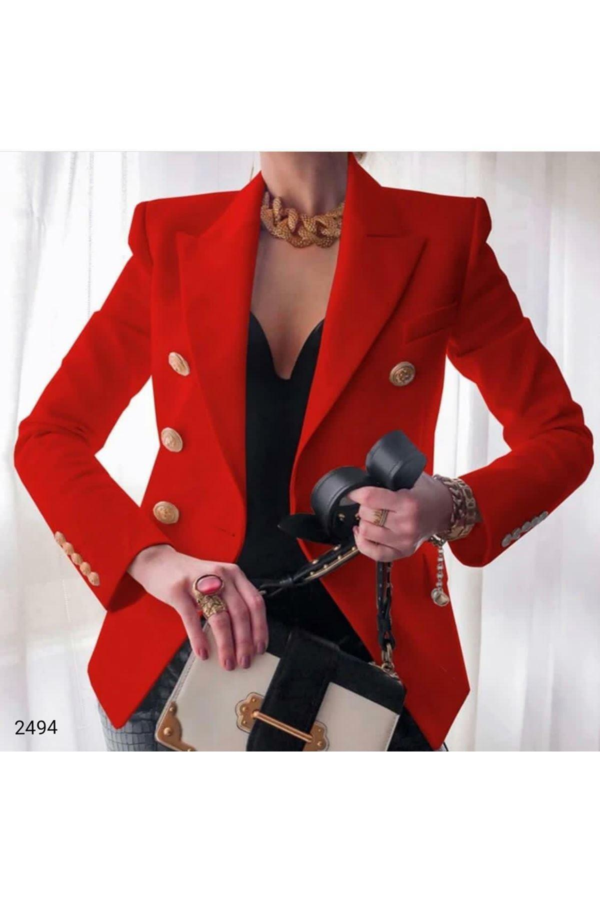 Düğmeli Blazer Ceket - Kırmızı