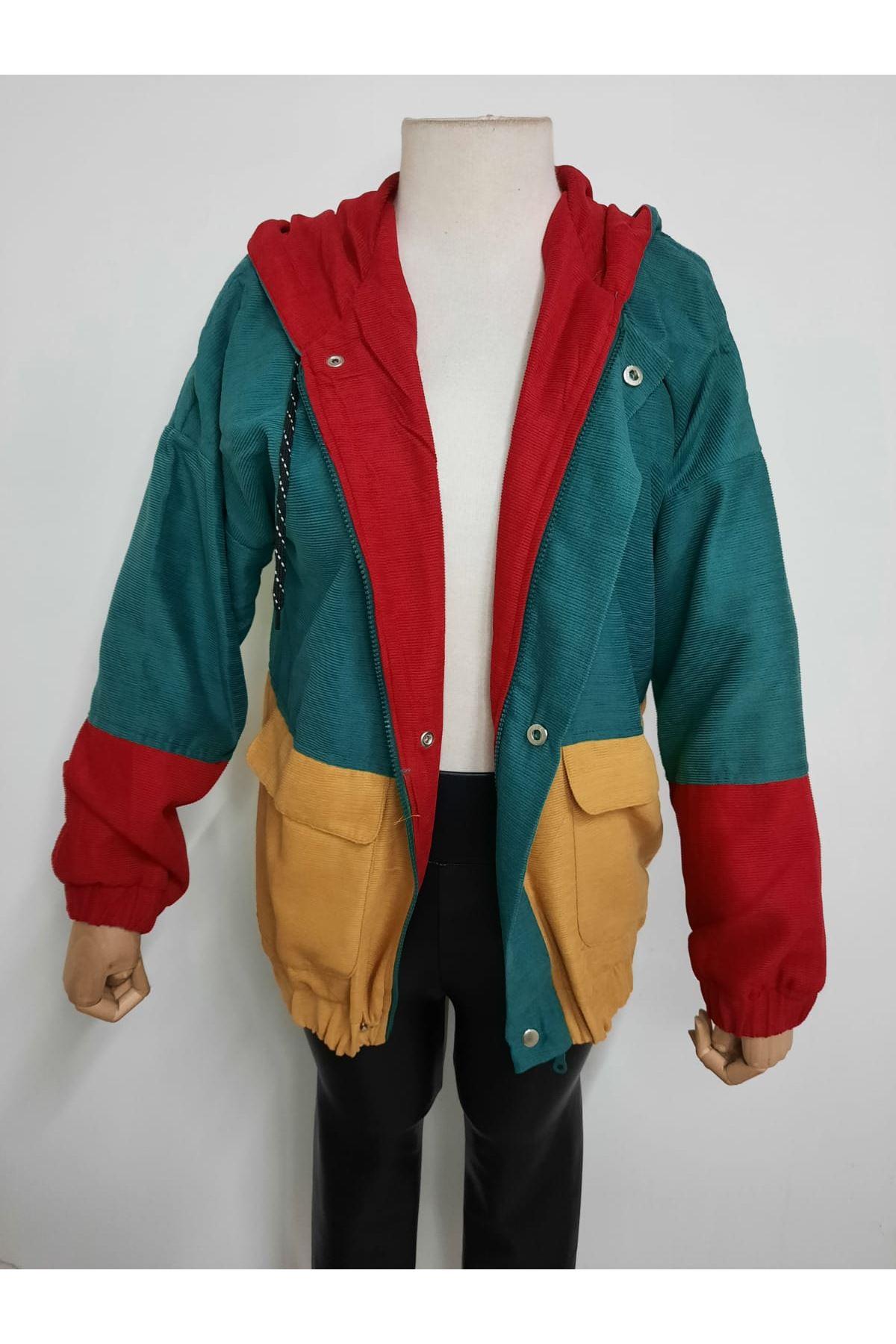 Cep Detaylı Renkli Ceket  - MULTİ