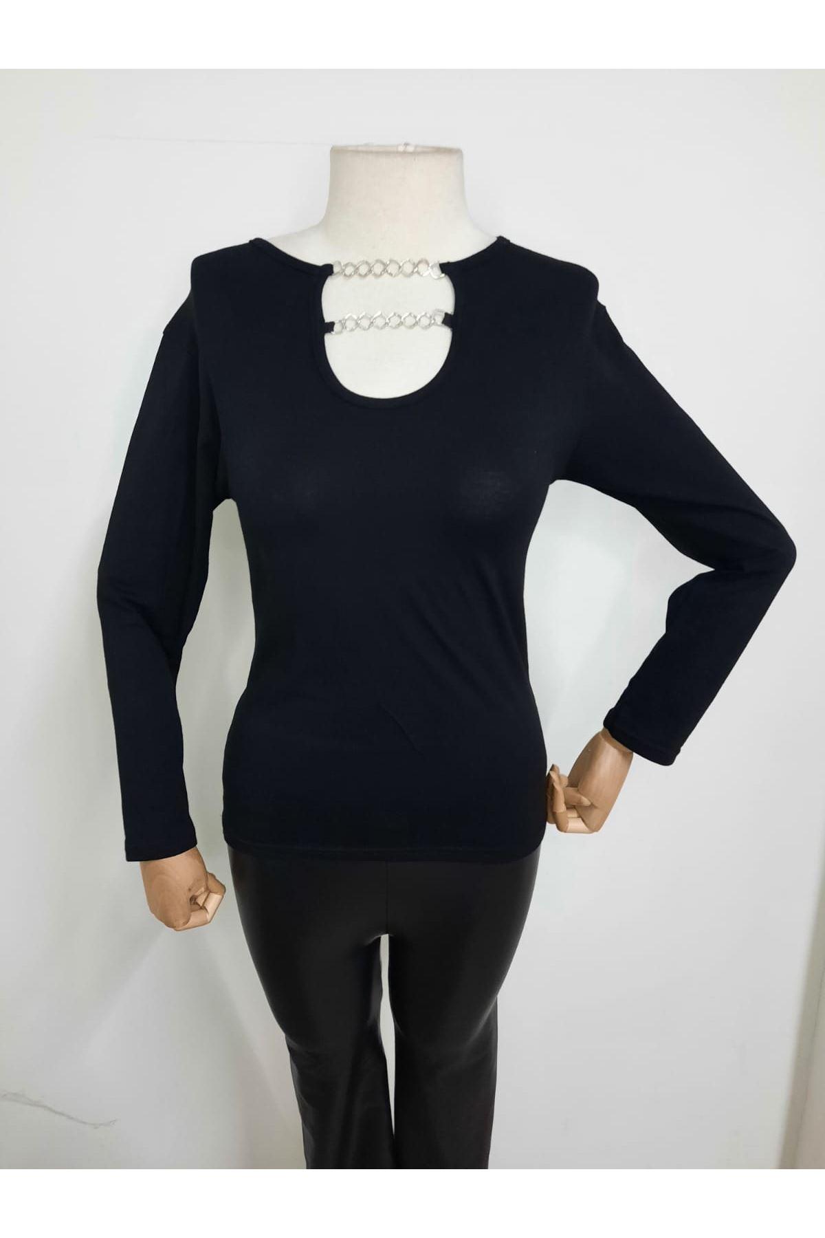 Zincir Detaylı Bluz - siyah