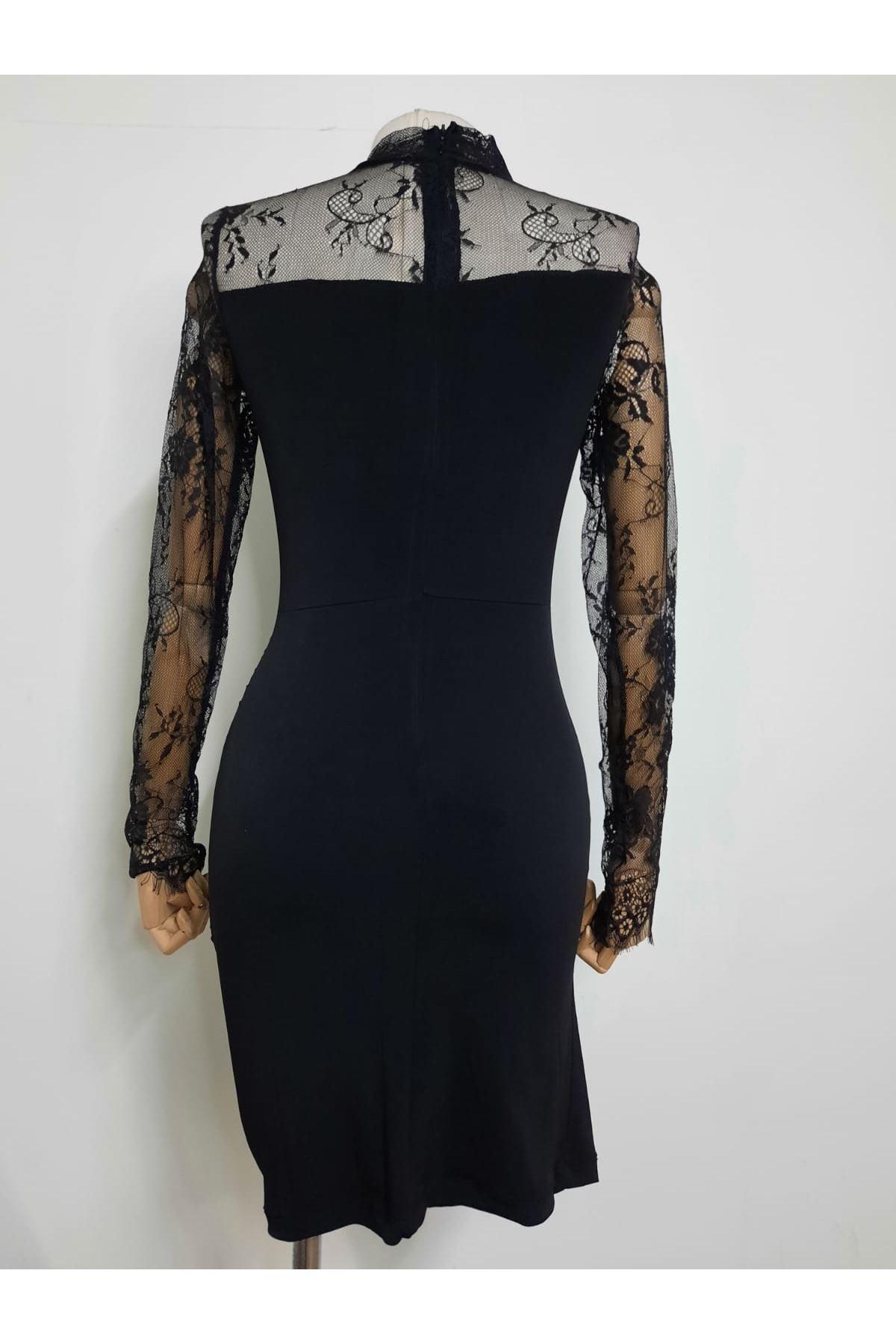 Kol Full Dantel Mini Elbise - SİYAH
