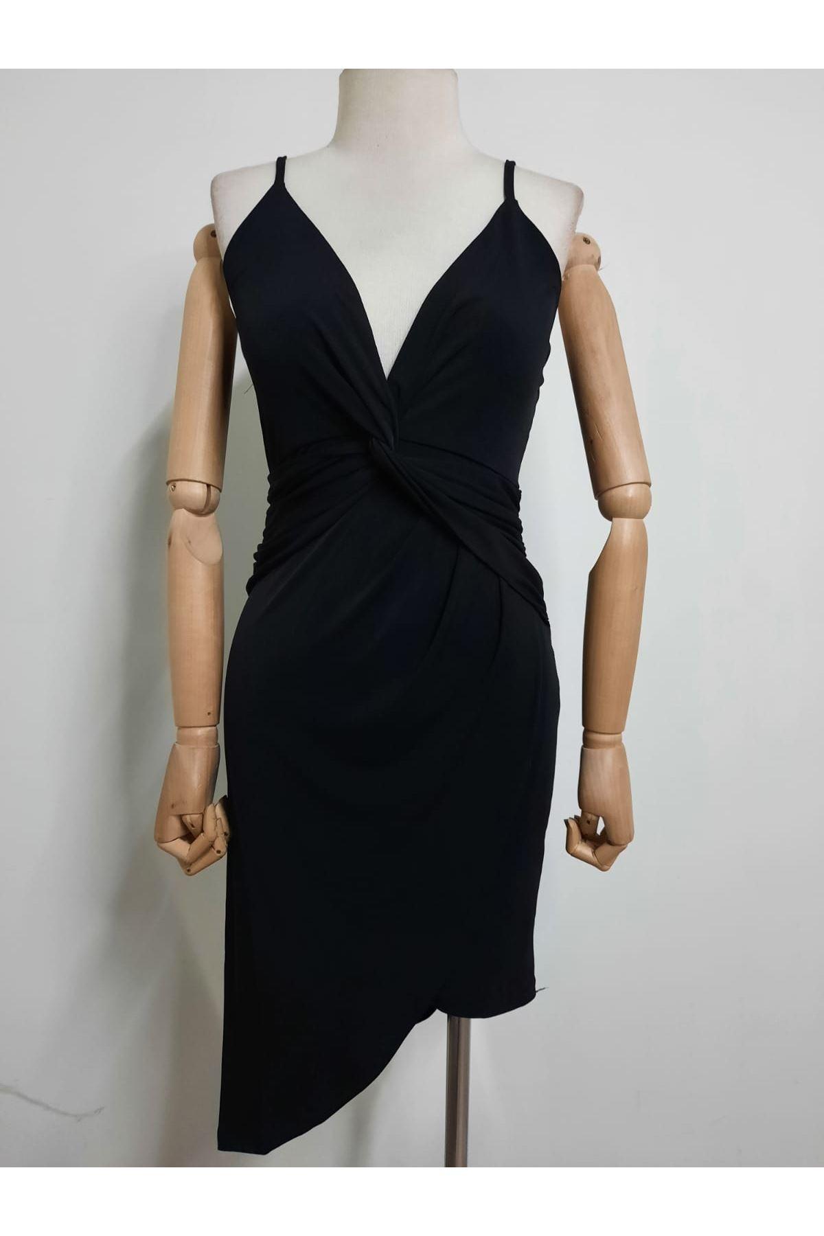 Askılı Mini Elbise - SİYAH