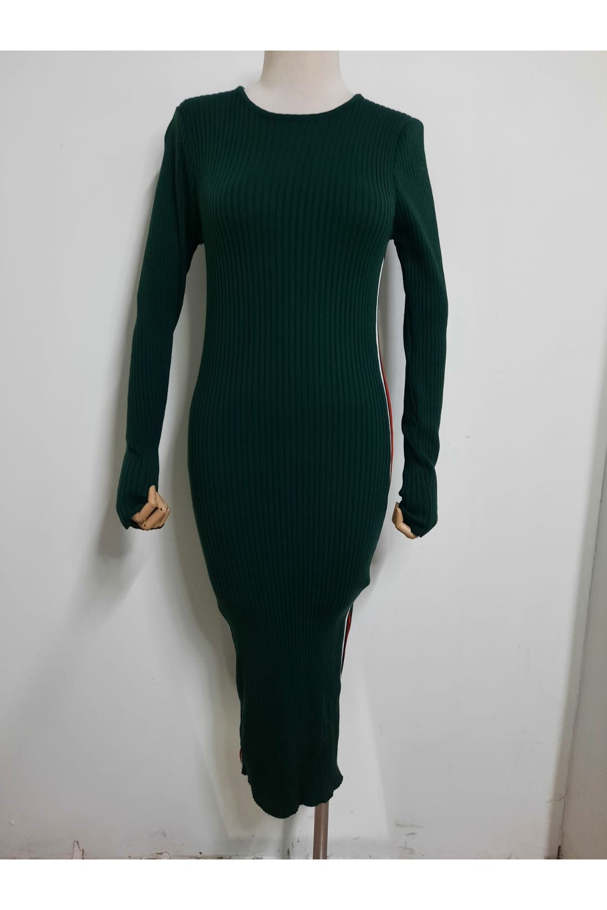 Yanı Şeritli Elbise - HAKİ