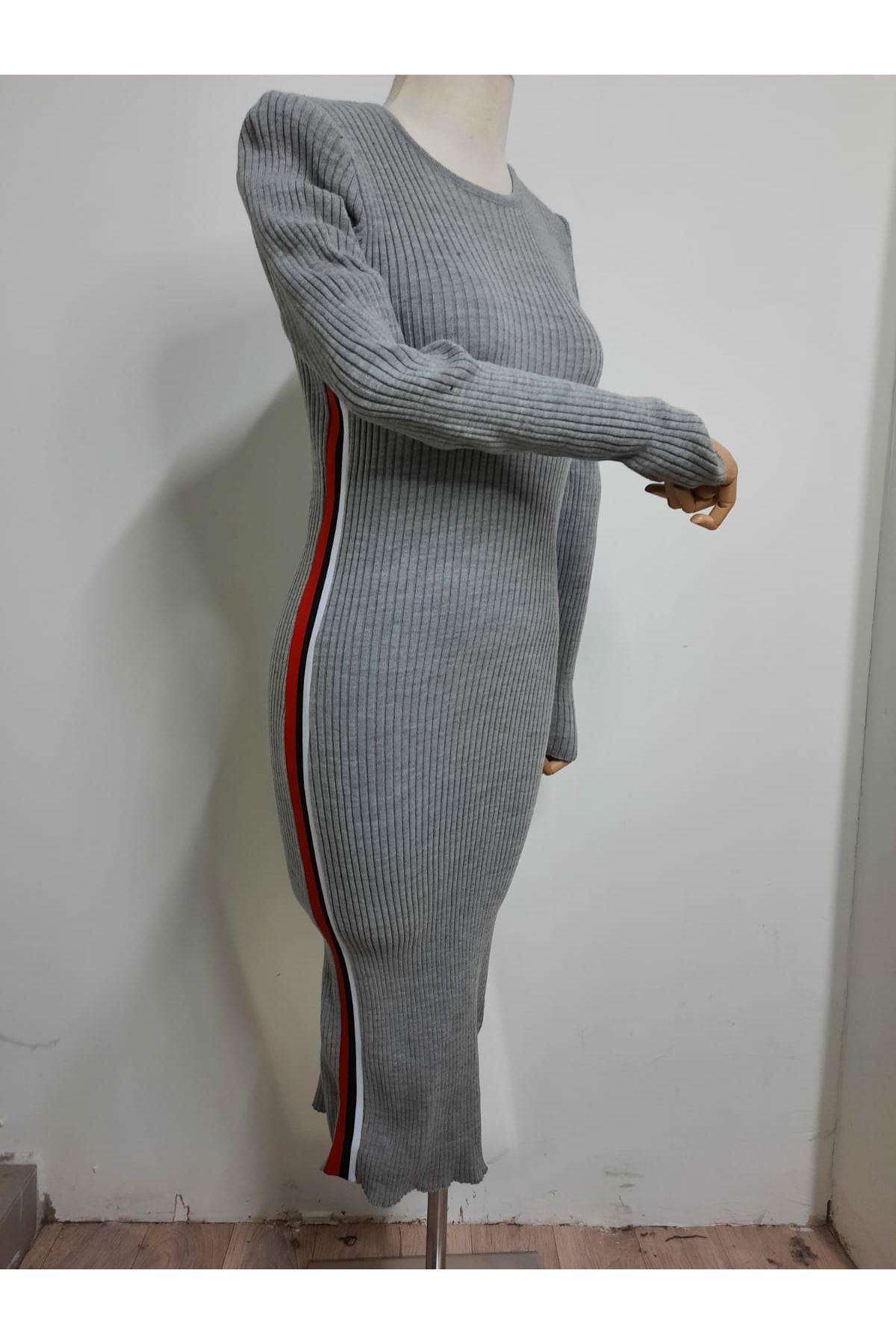 Yanı Şeritli Elbise - GRİ