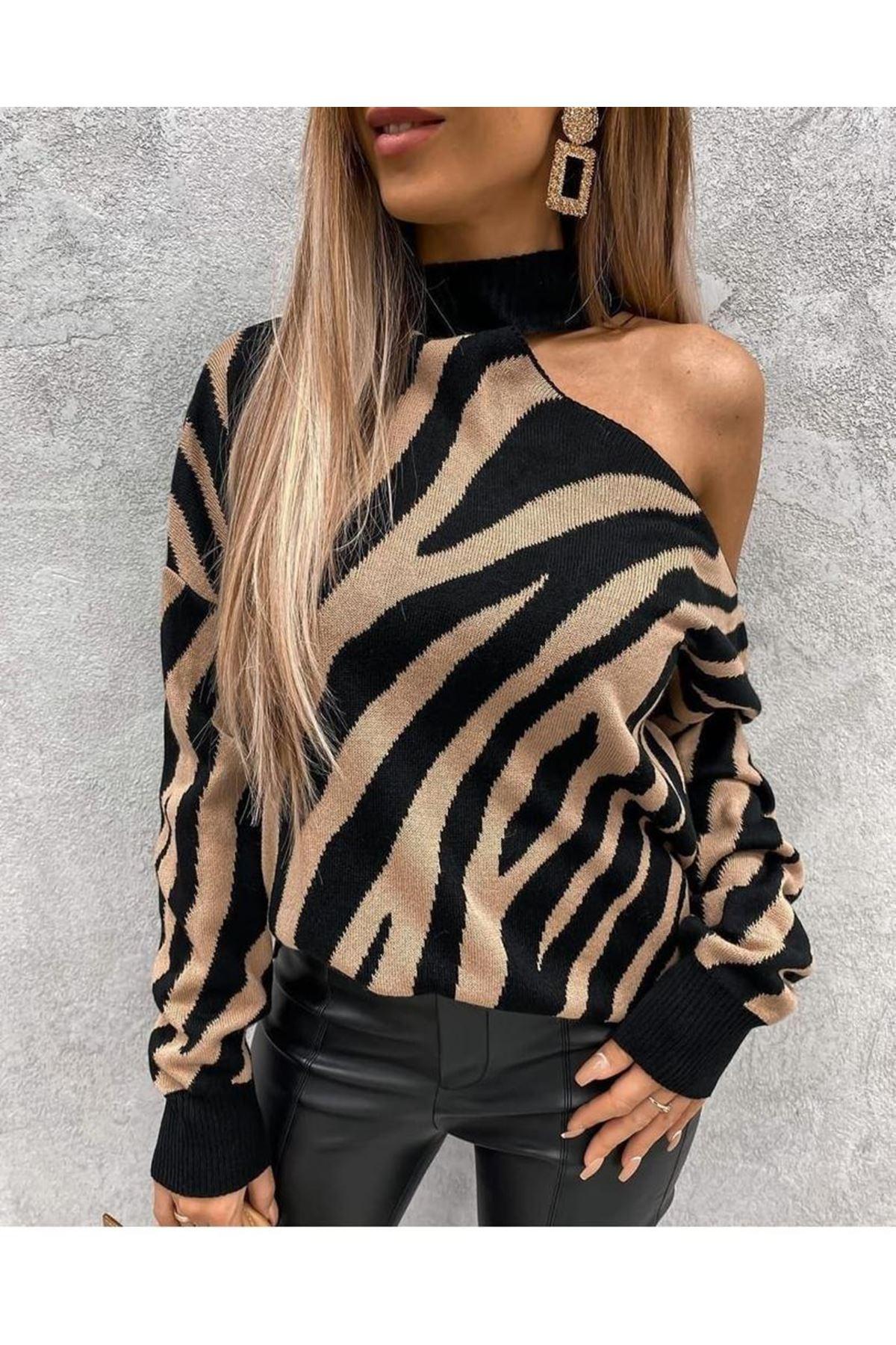 Zebra Desen Tek Omuz Bluz - Siyah