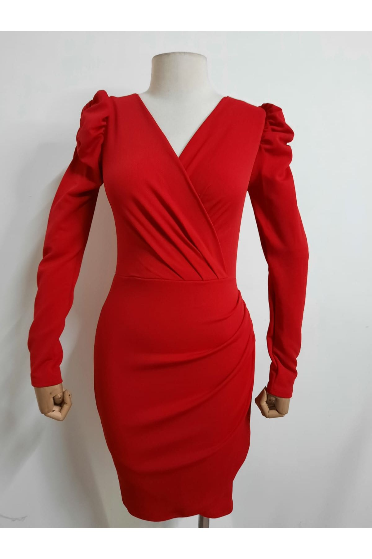 Prenses Omuz Mini Elbise - KIRMIZI