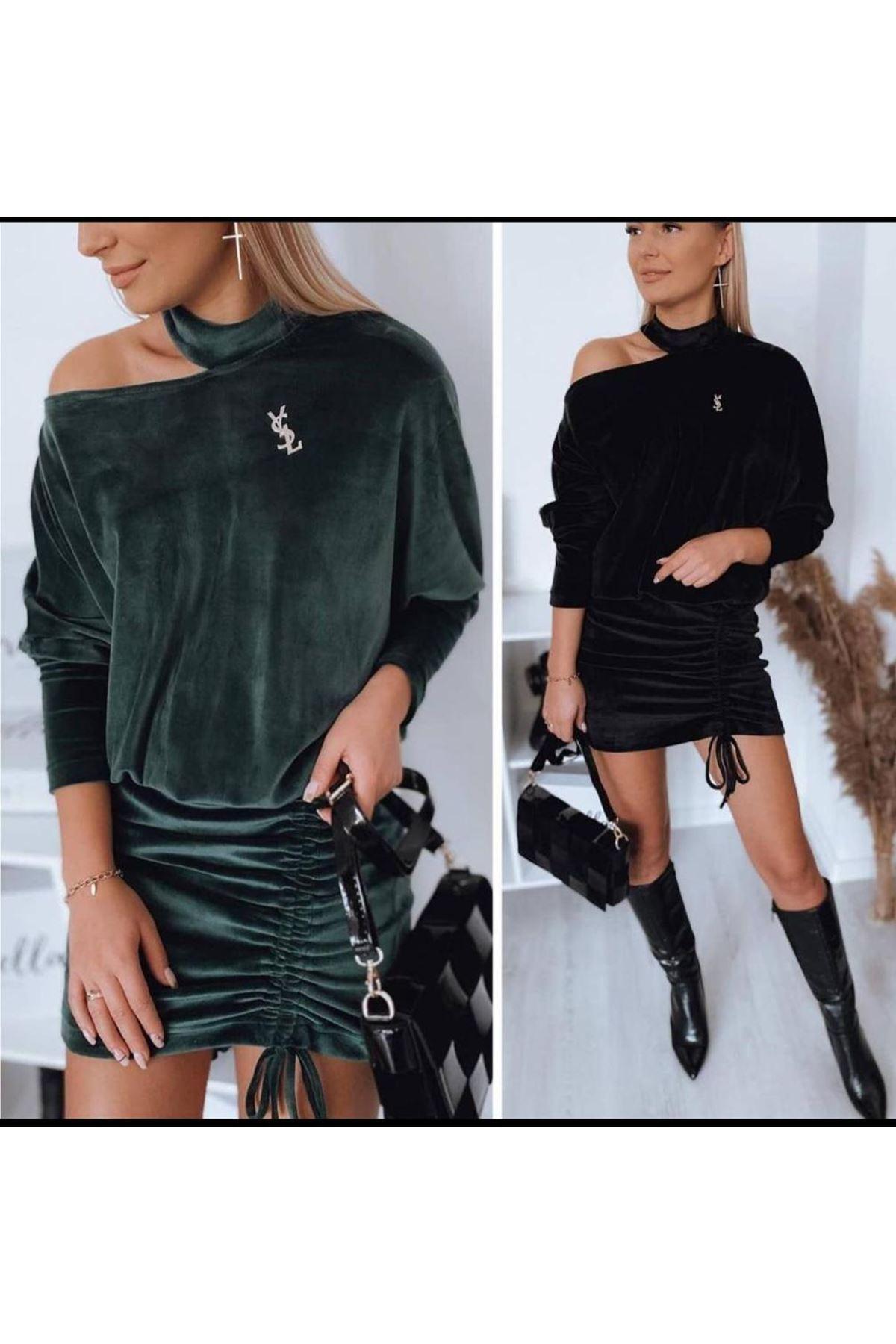 YL Nakış Detaylı Büzgülü Mini Elbise - ZÜMRÜT
