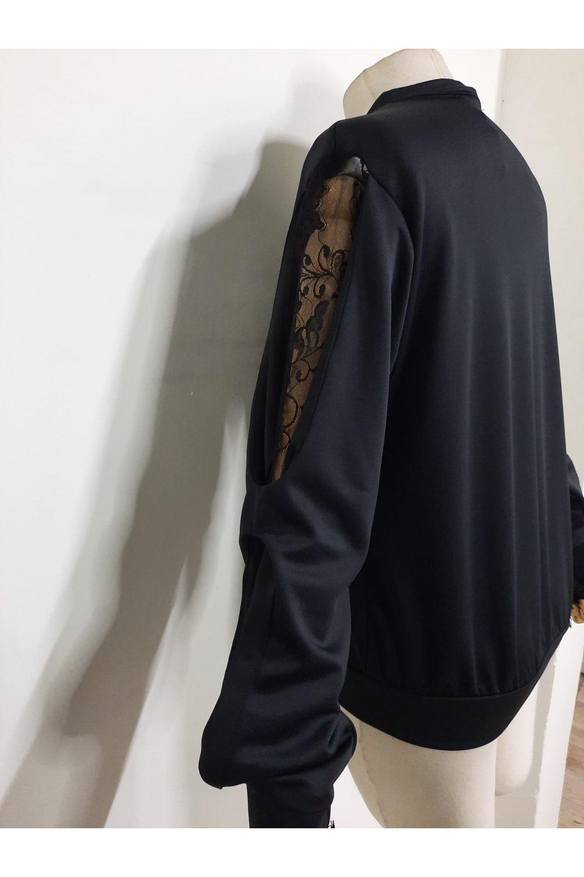 Kol Detaylı Bluz - siyah