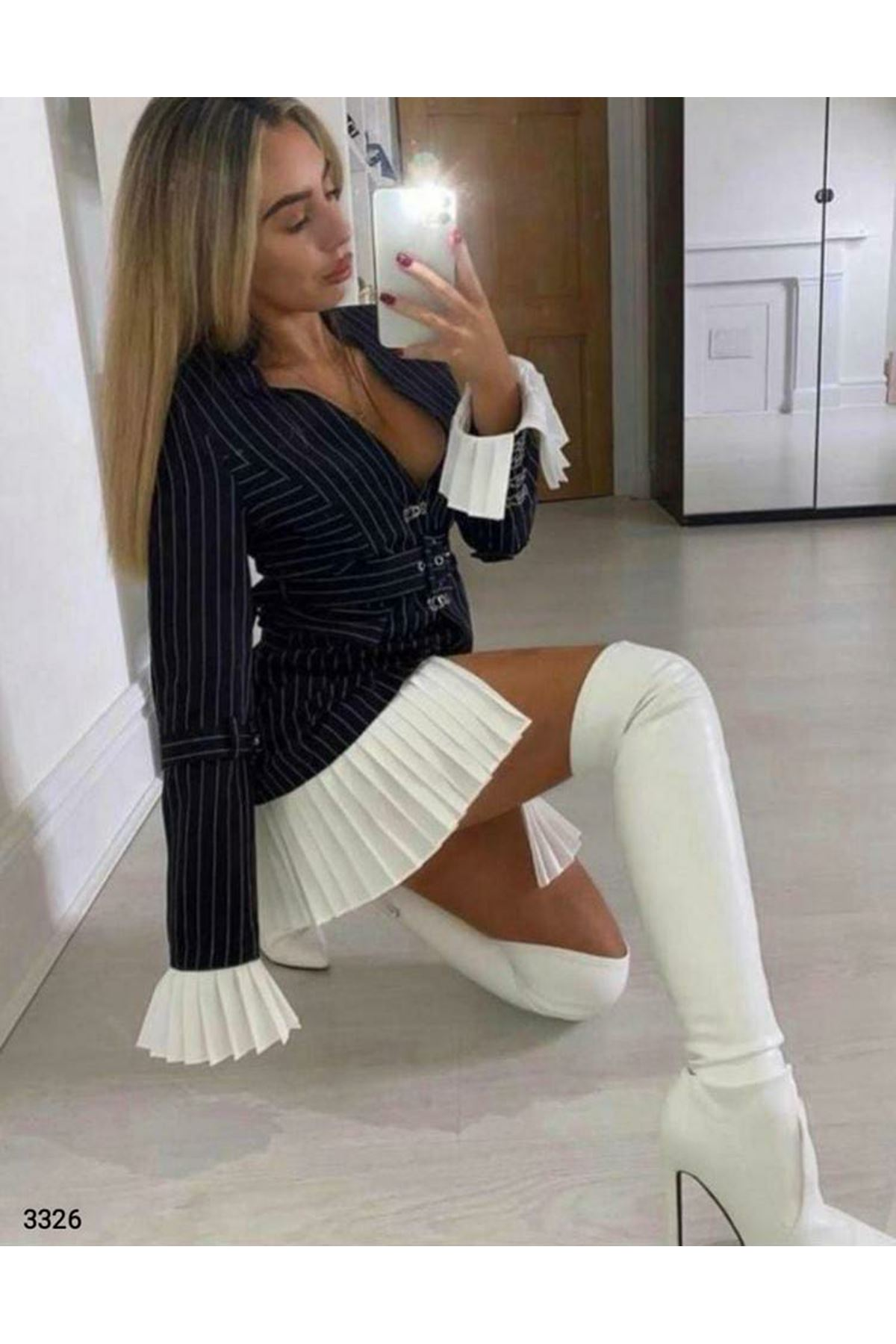 Kemerli Ceket Elbise - SİYAH