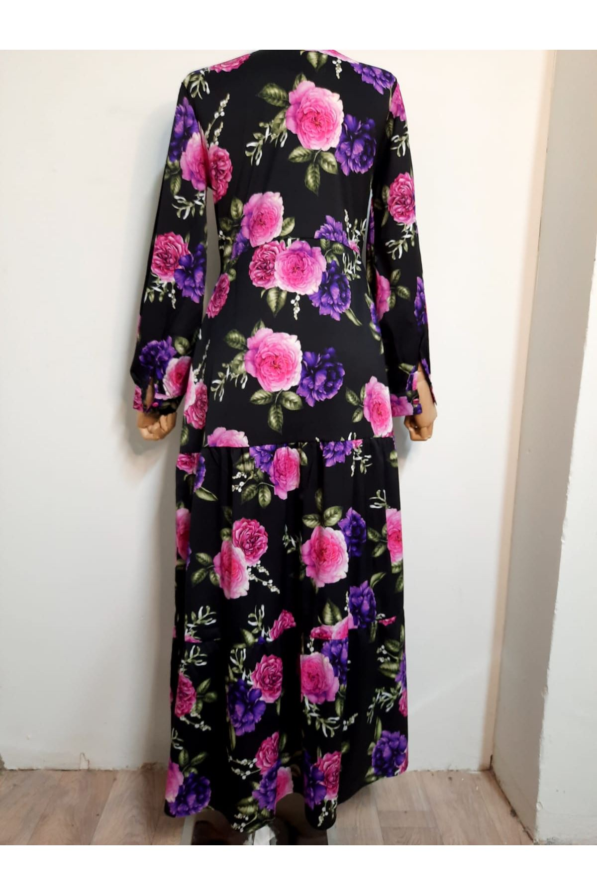 Çiçek Desen Gömlek Elbise - SİYAH