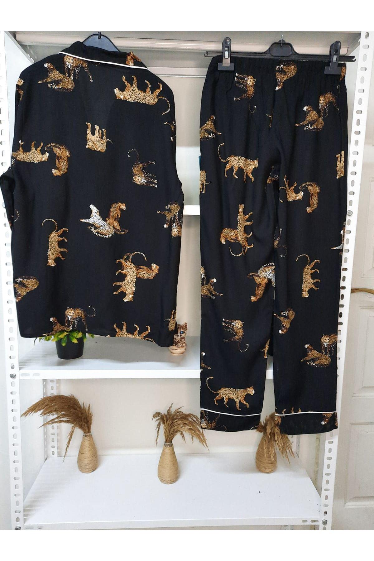 Leopar Baskılı Pijama Takım - SİYAH