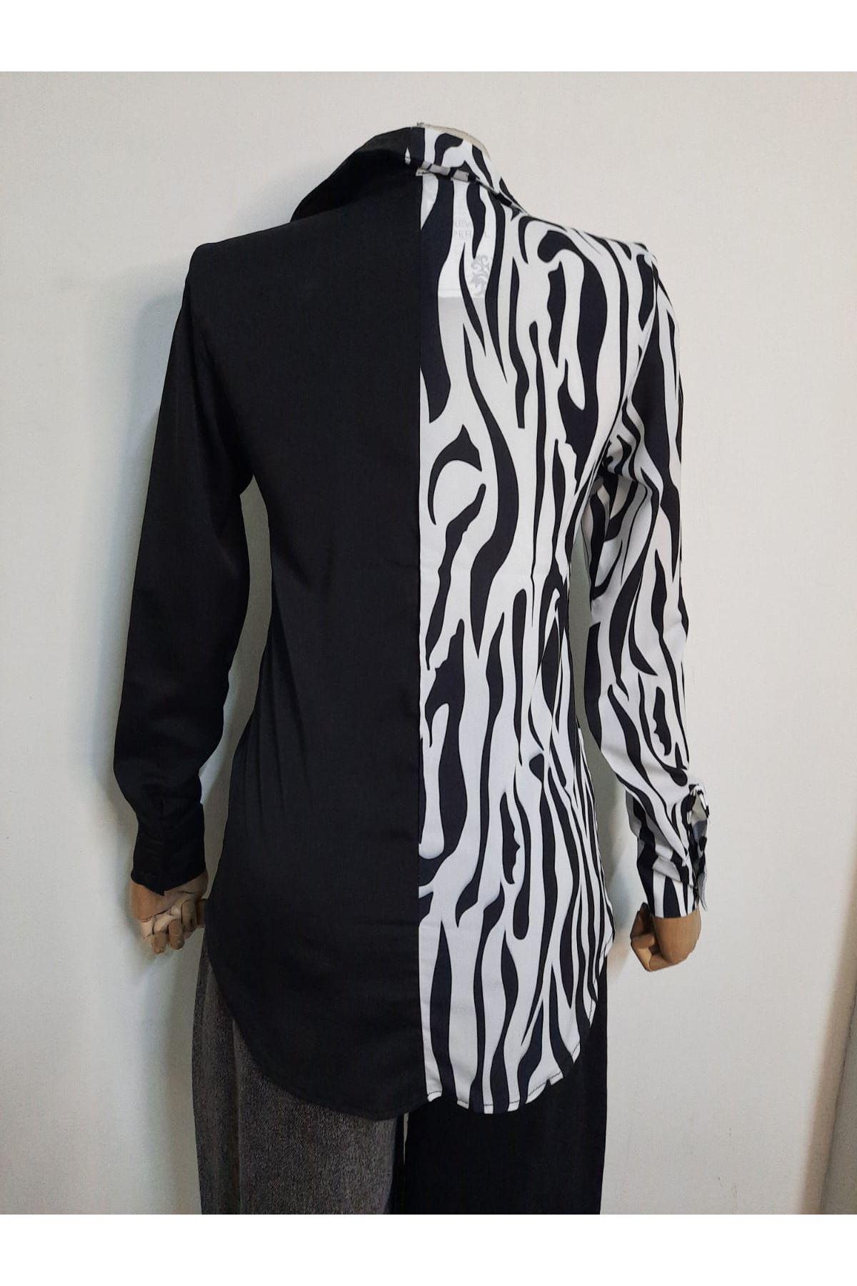 Melek Kanat Detaylı Gömlek - zebra