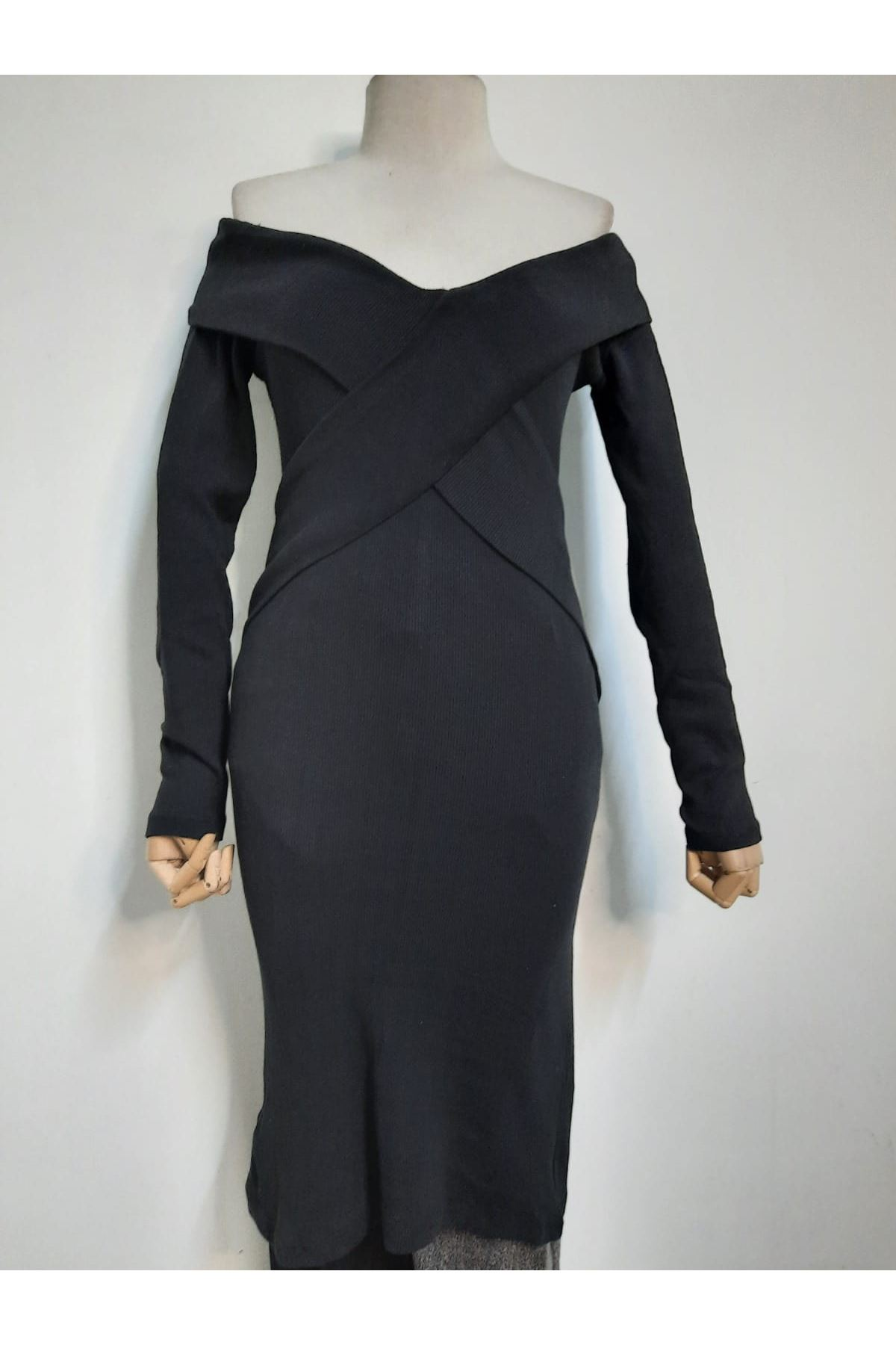 Çapraz Kaşkorse Elbise - SİYAH