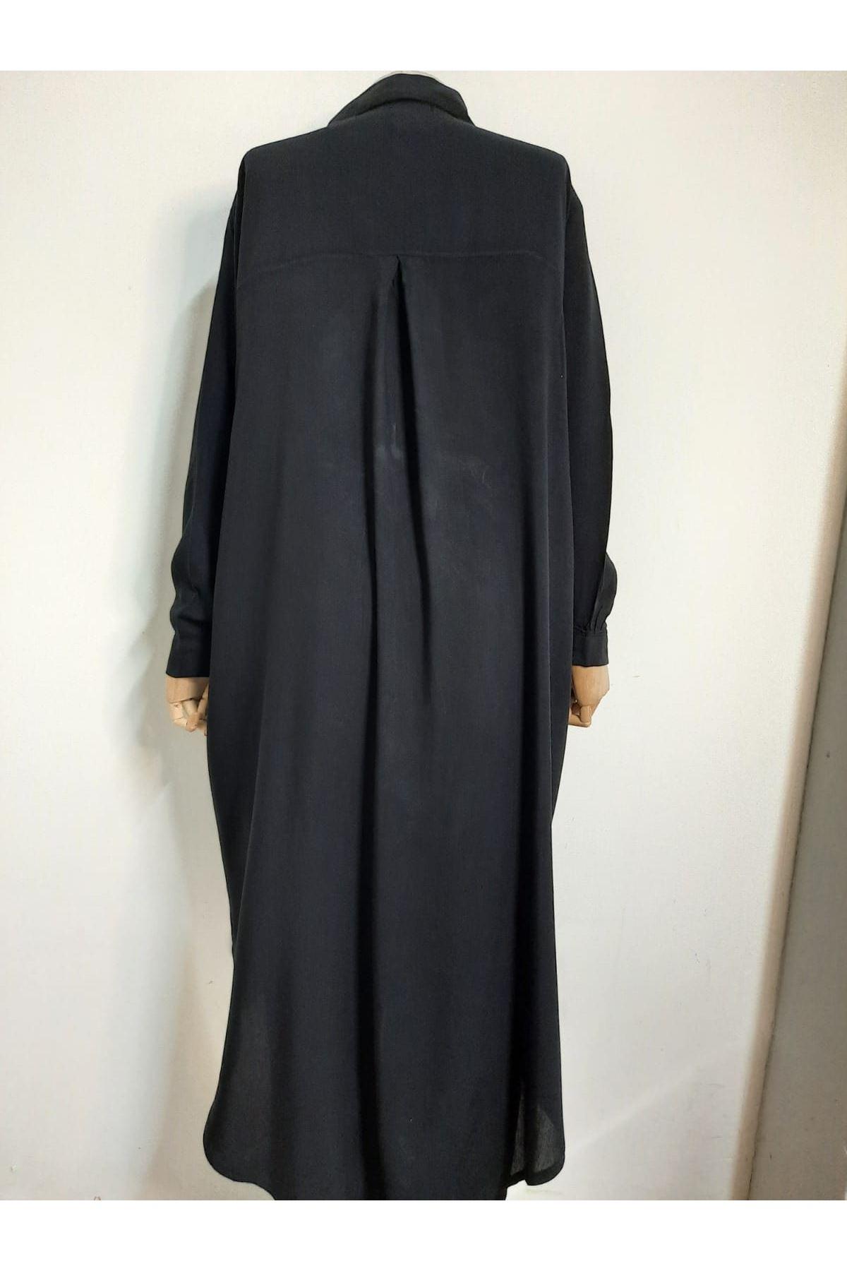 Asimetrik Dokuma Gömlek Elbise - SİYAH