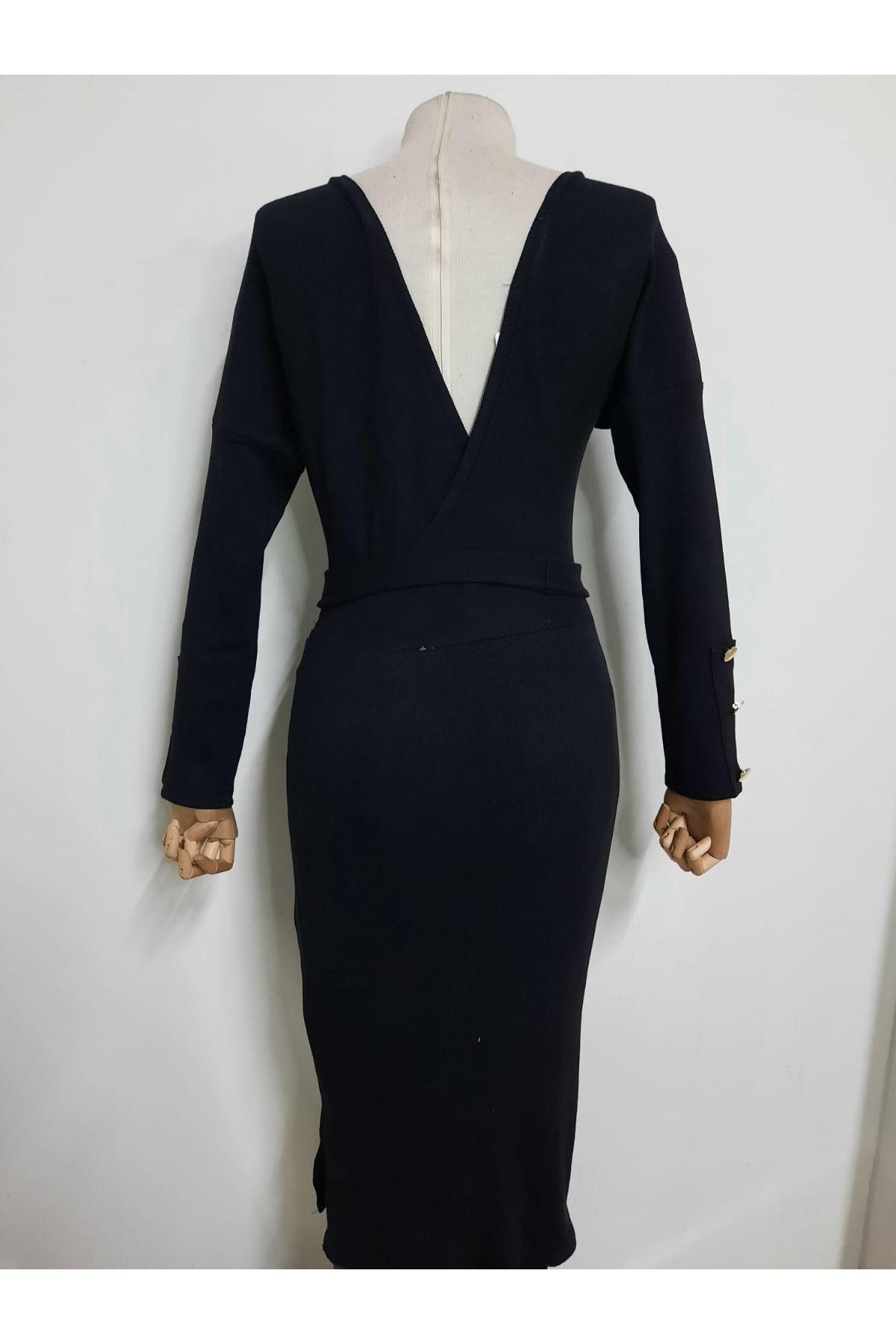 Kol Düğme Detaylı Elbise  - siyah