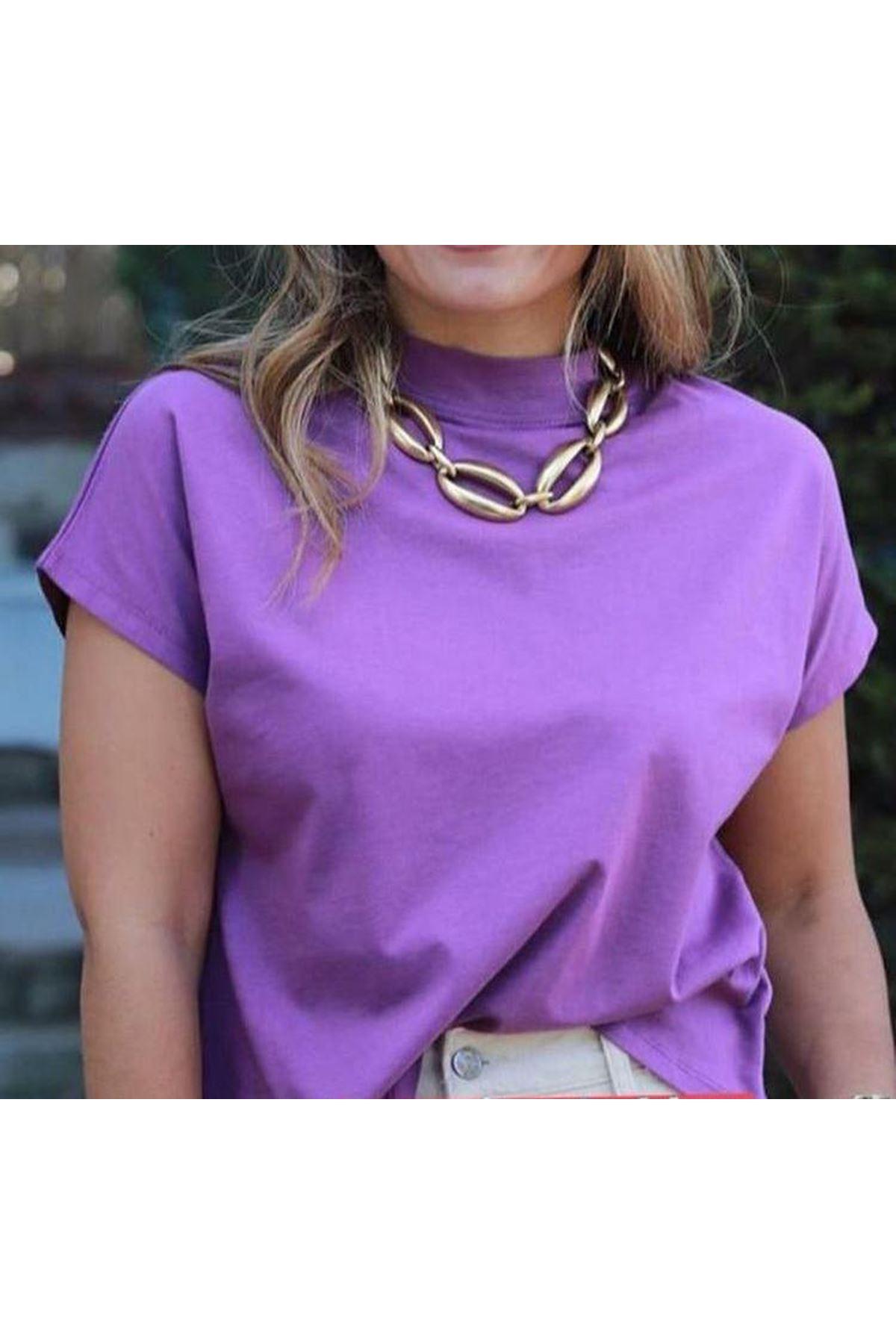 Dik Yaka Basic Tshirt - LİLA